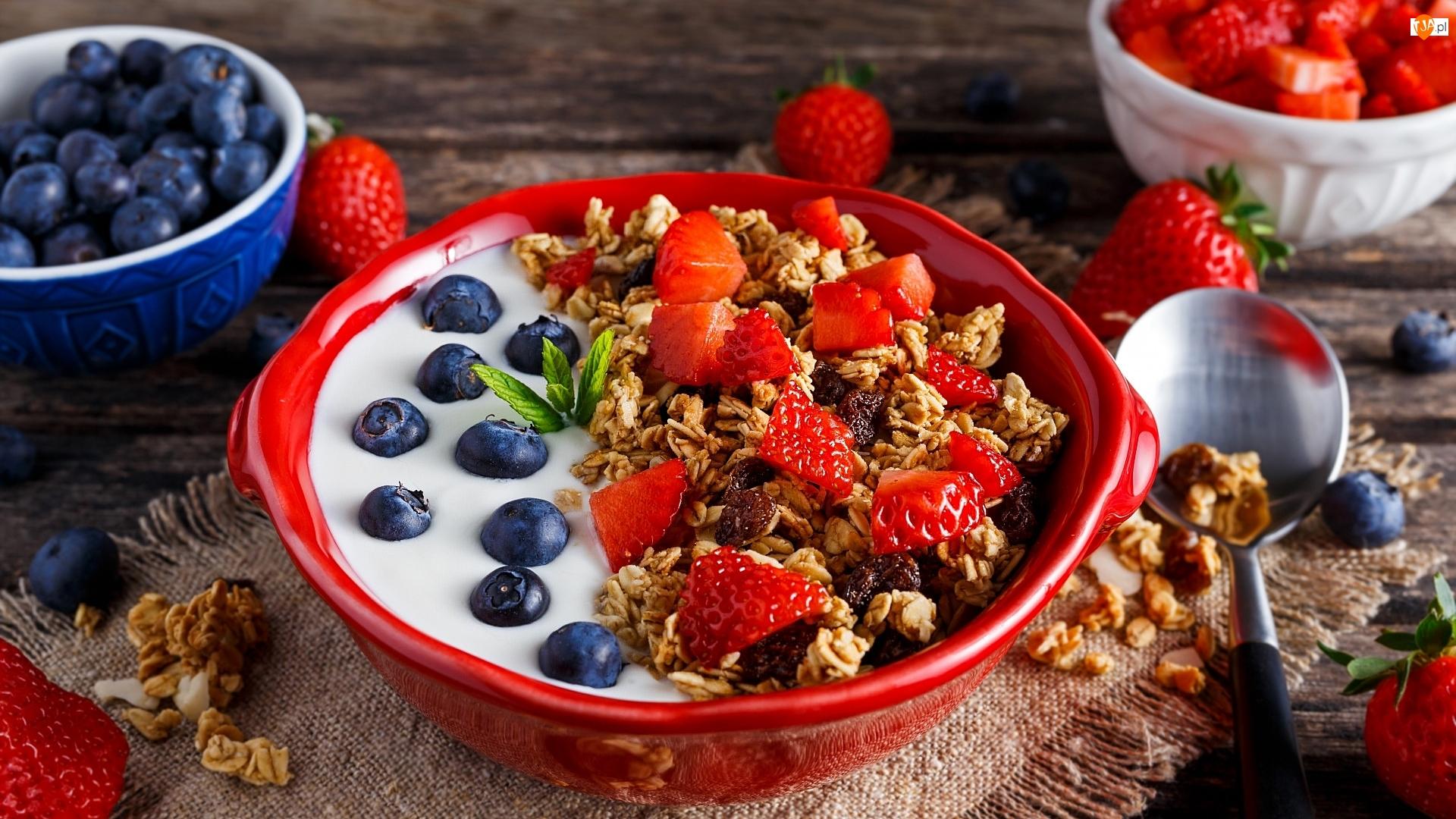 Jogurt, Owoce, Miseczka, Płatki, Czerwona, Truskawki, Borówki