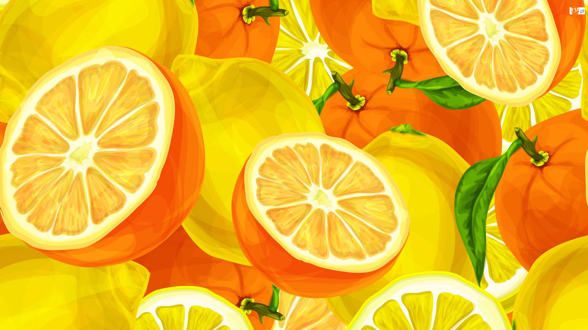 Pomarańcze, 2D, Cytrusy, Owoce, Cytryny