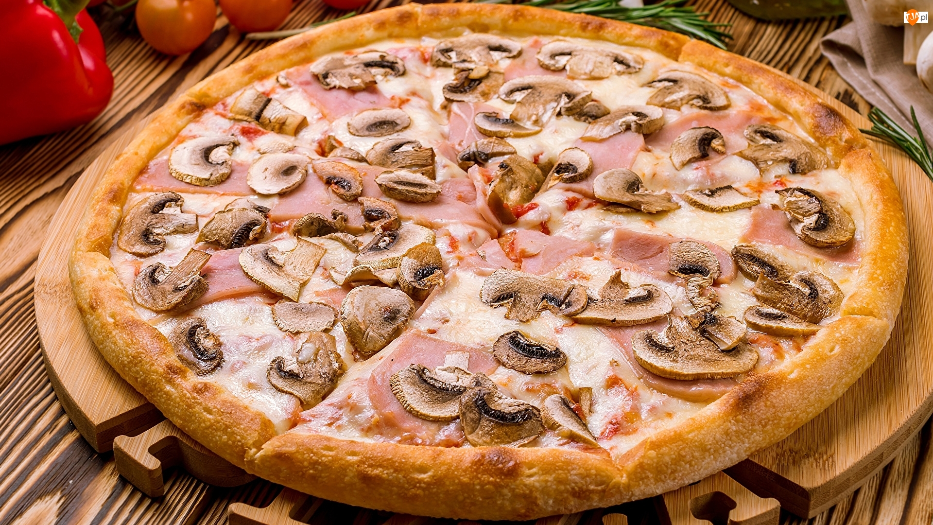 Szynka, Pizza, Ser, Pieczarki