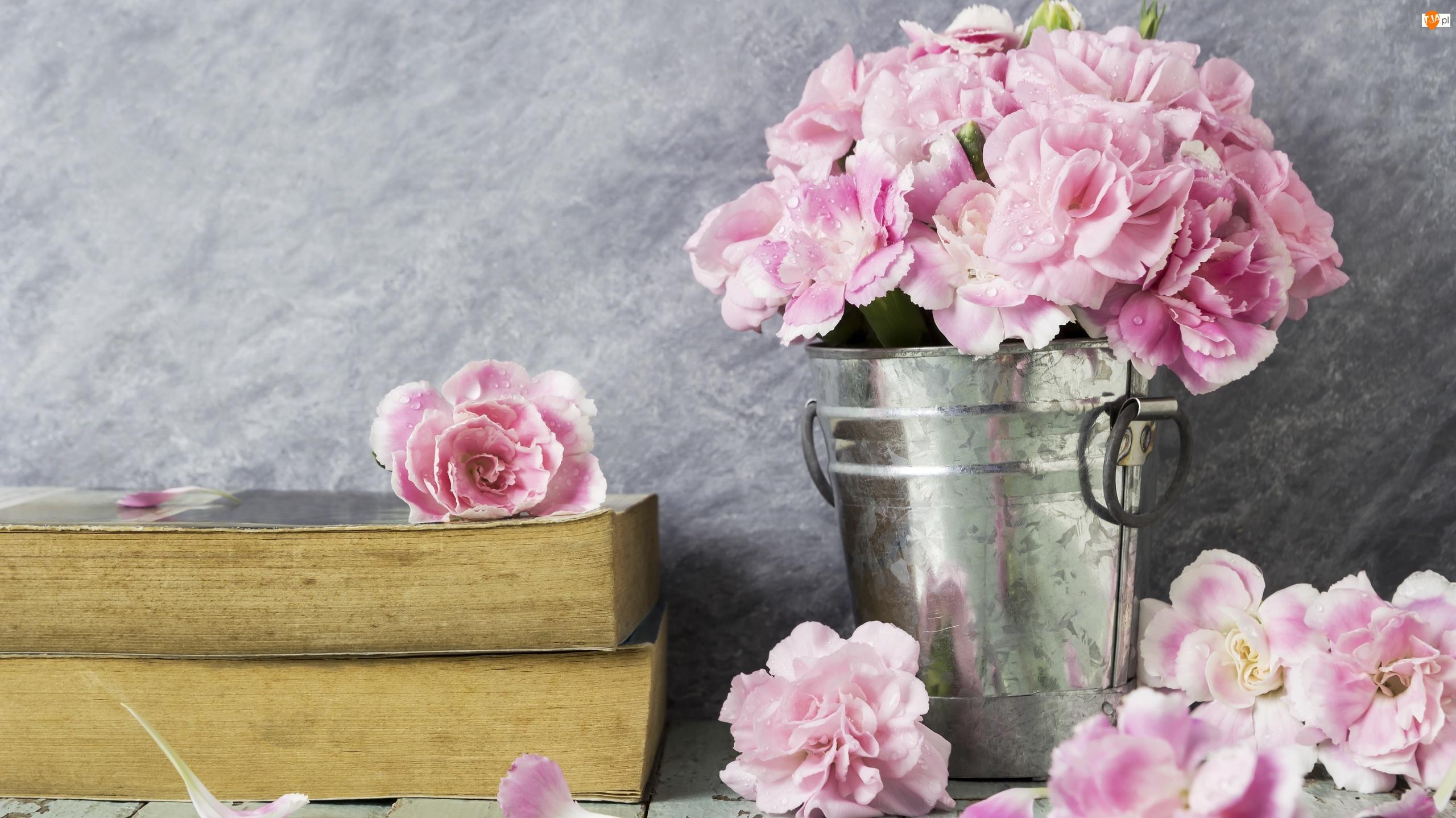 Wiaderko, Kompozycja, Goździki Szabo, Kwiaty, Książki