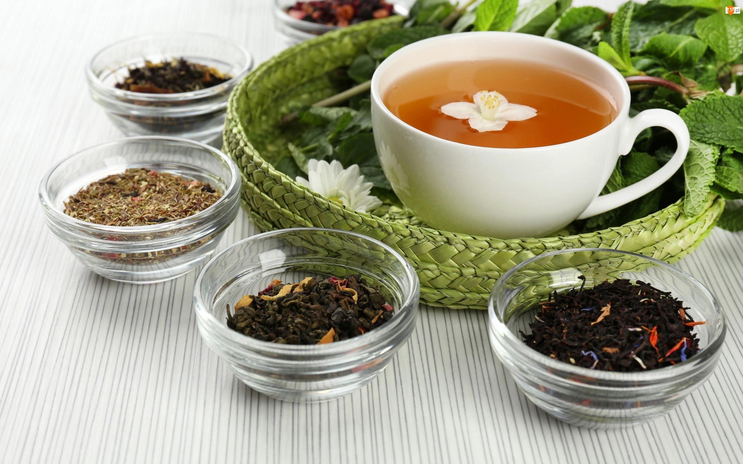 Filiżanka, Szklane, Herbaty, Herbata, Różne, Liściaste, Miseczki