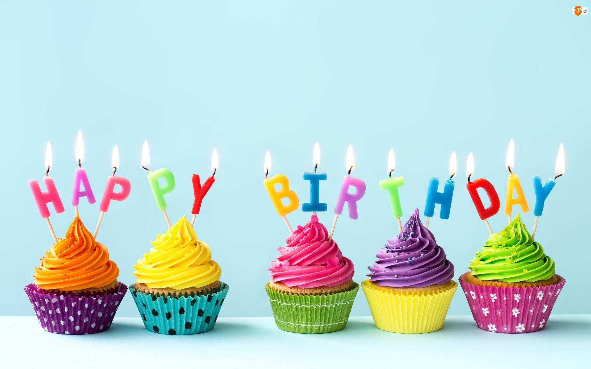 Napisy, Urodziny, Kolorowe, Krem, Świeczki, Babeczki