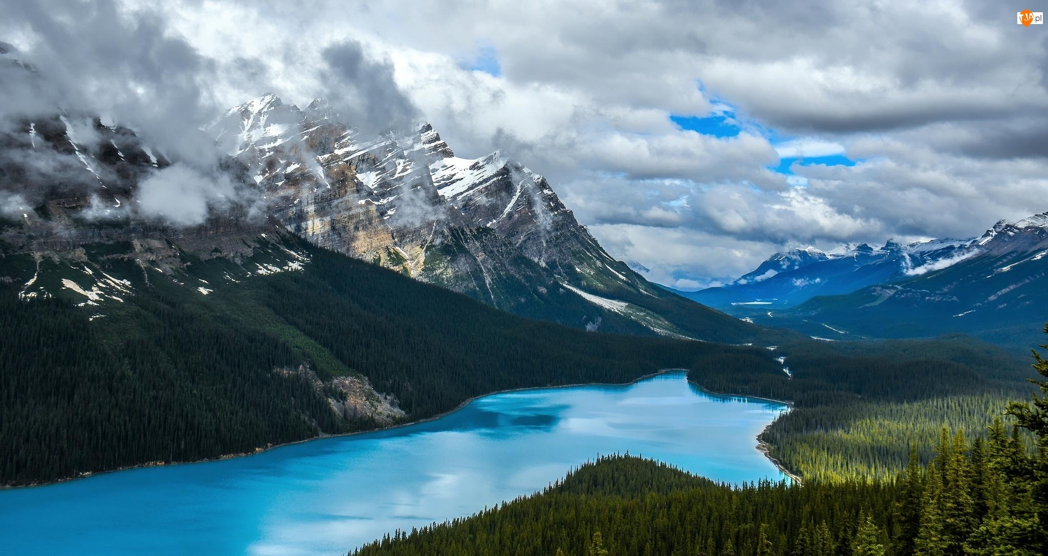 Park Narodowy Banff, Góry Canadian Rockies, Chmury, Kanada, Drzewa, Las, Jezioro Peyto Lake