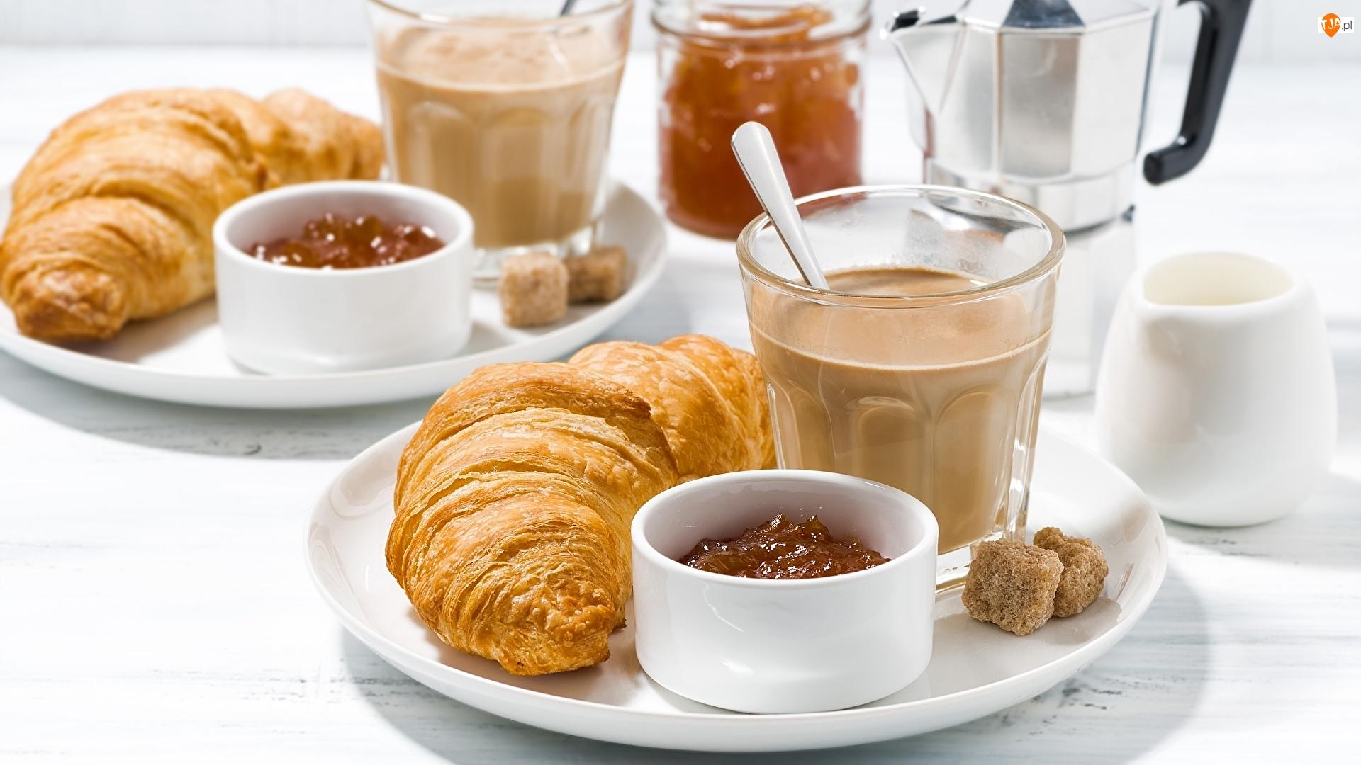 Rogaliki, Croissanty, Kostki cukru, Śniadanie, Talerz, Kawa, Dżem