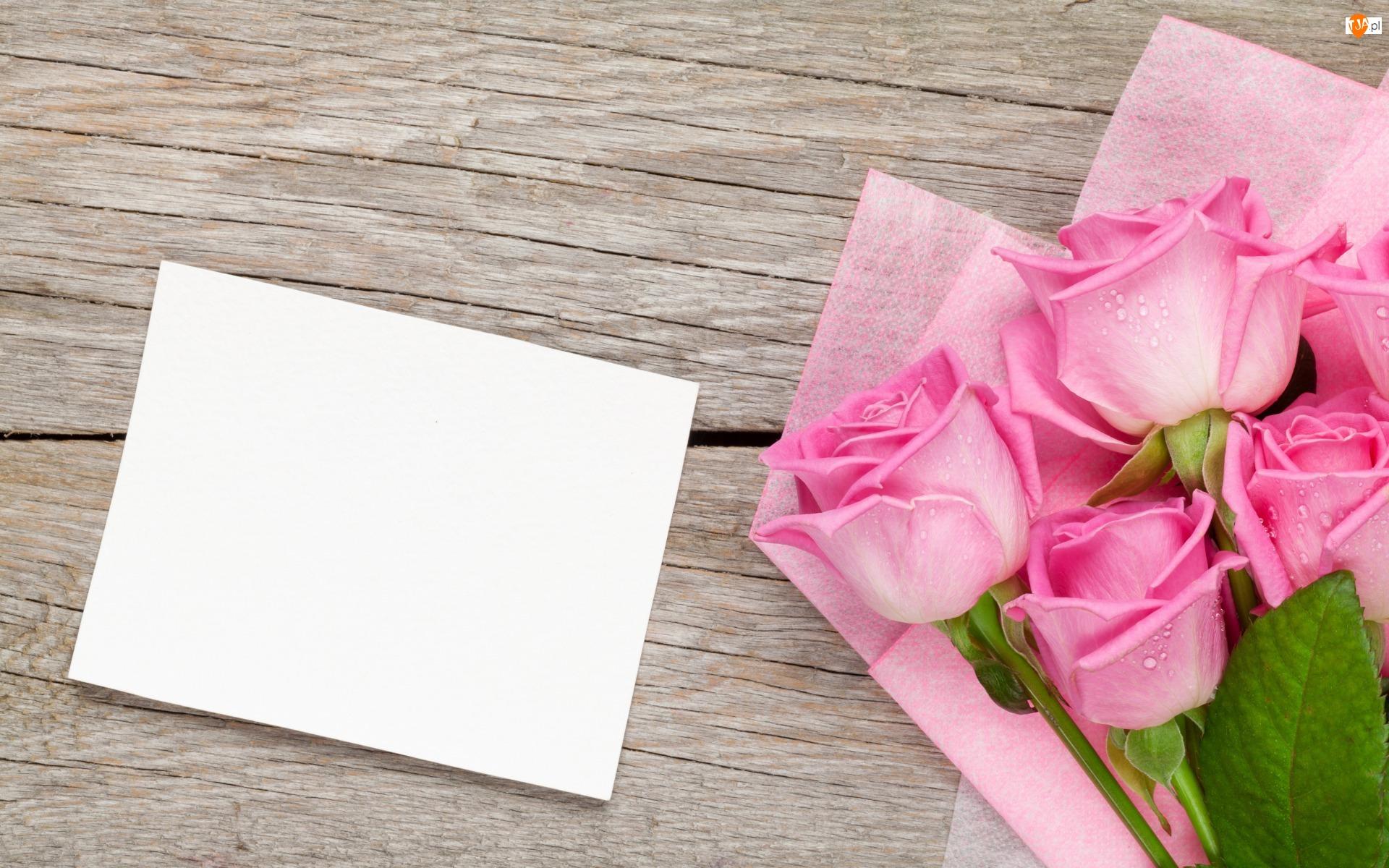 Róże, Deski, Różowe, Kwiaty, Kartka