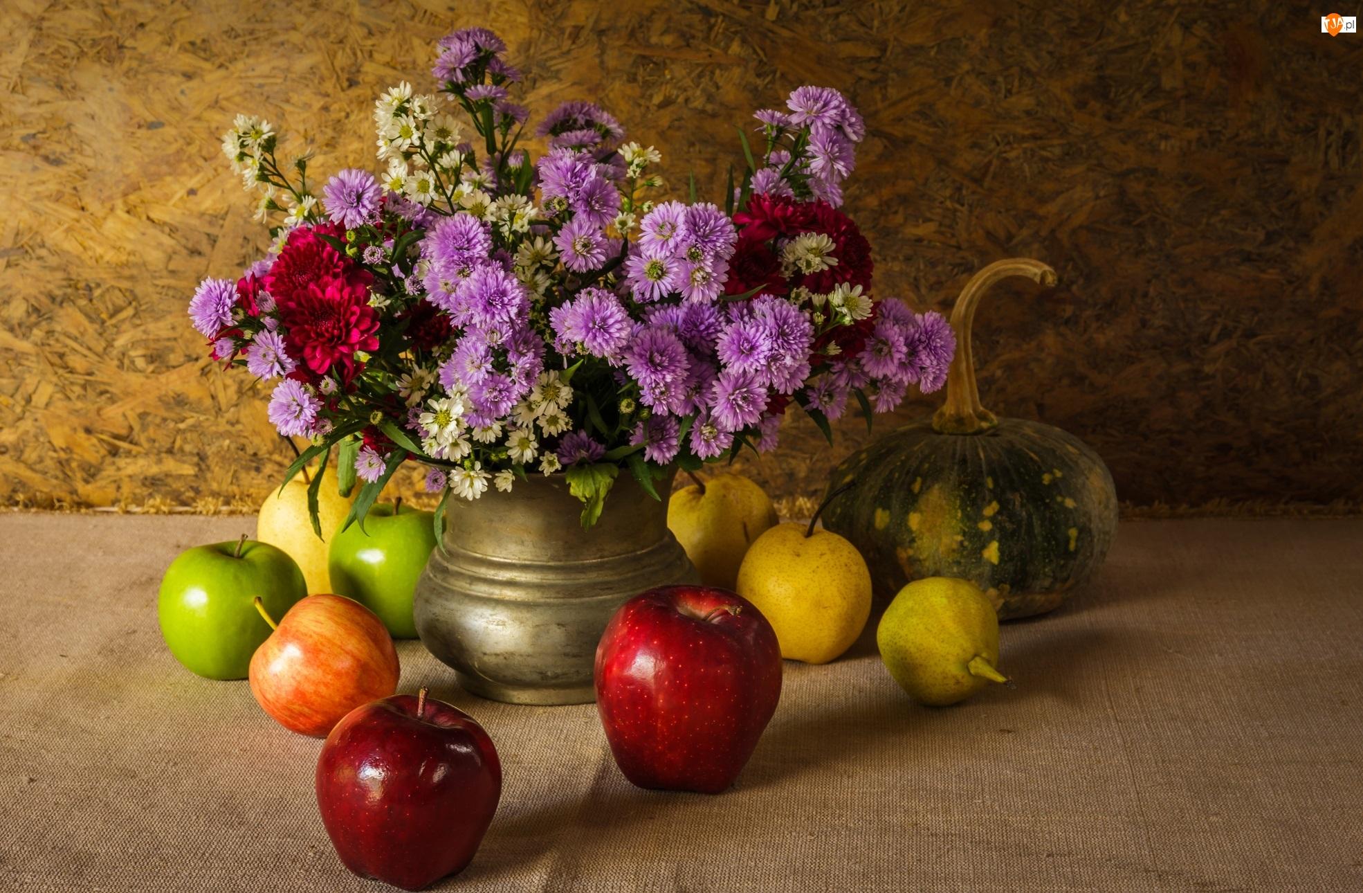 Dynia, Wazon, Gruszki, Owoce, Jabłka, Bukiet, Kwiaty, Kompozycja, Astry marcinki