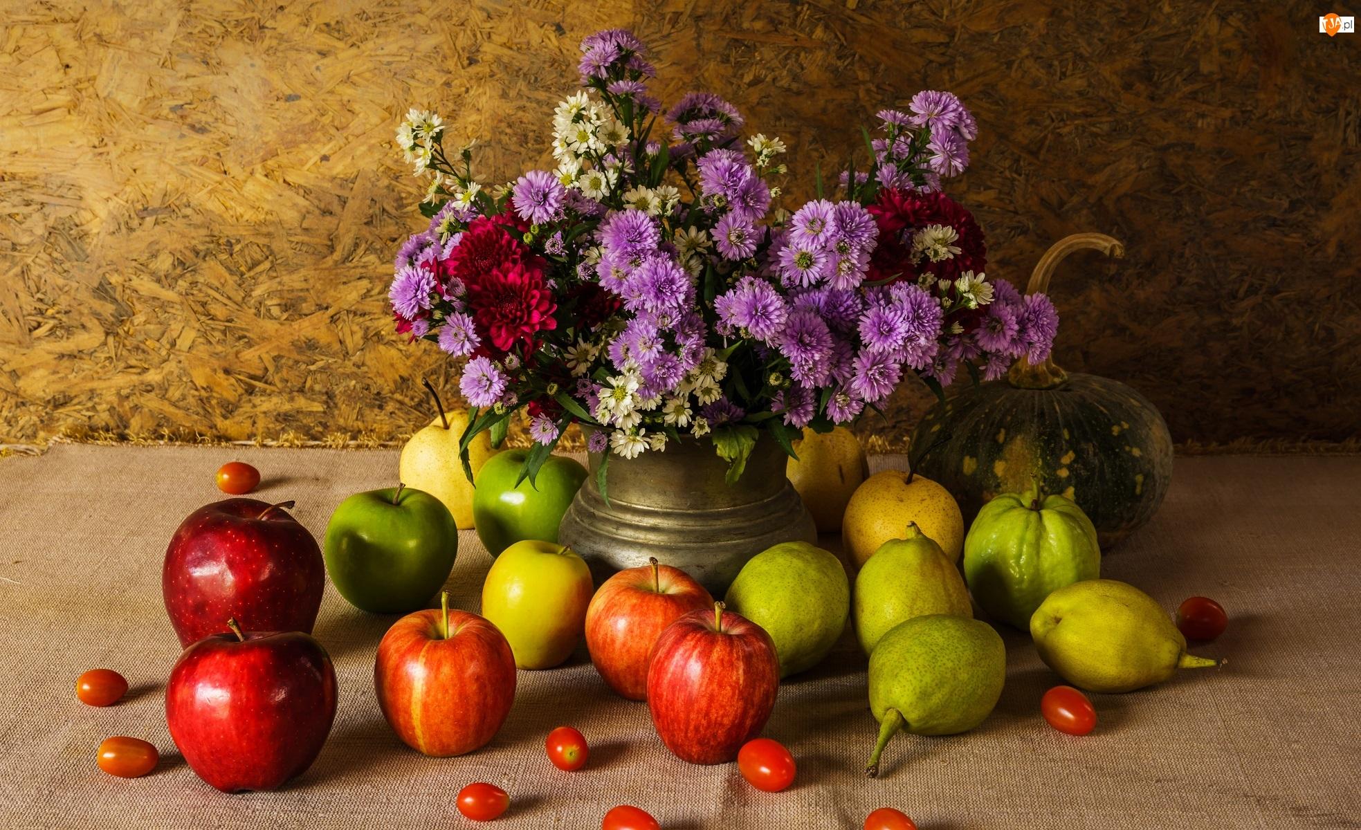 Dynia, Jabłka, Gruszki, Owoce, Wazon, Kompozycja, Kwiaty, Bukiet, Astry marcinki, Warzywa