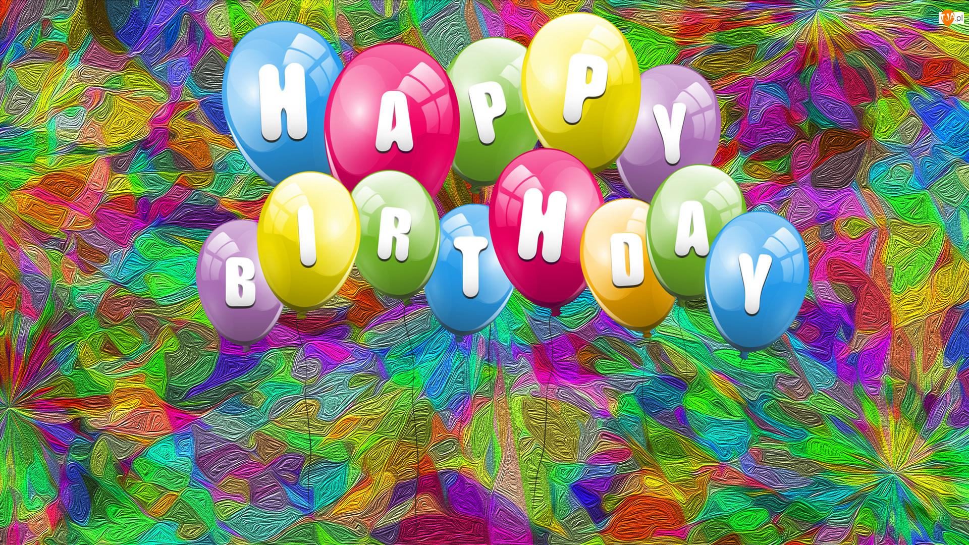 Grafika, Napis, Urodziny, Balony