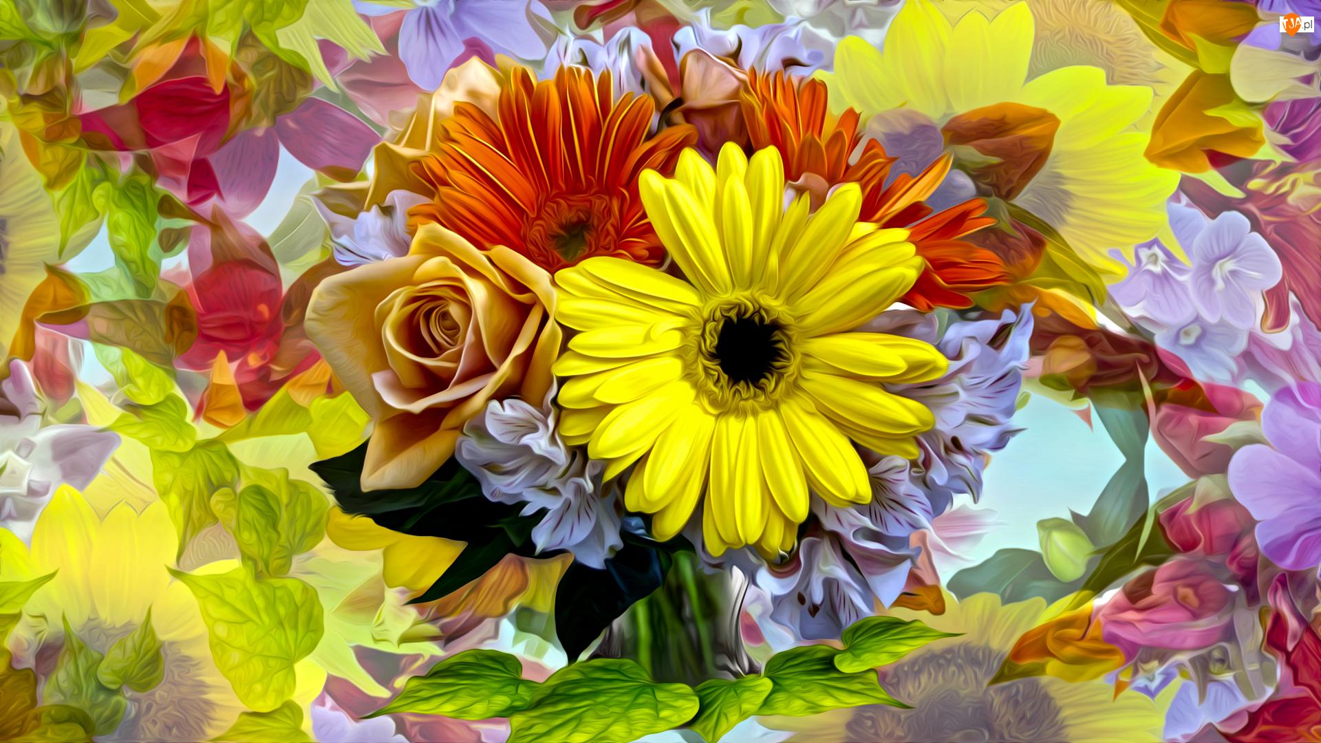 Gerbery, Grafika, Róże, Kwiaty, Liście
