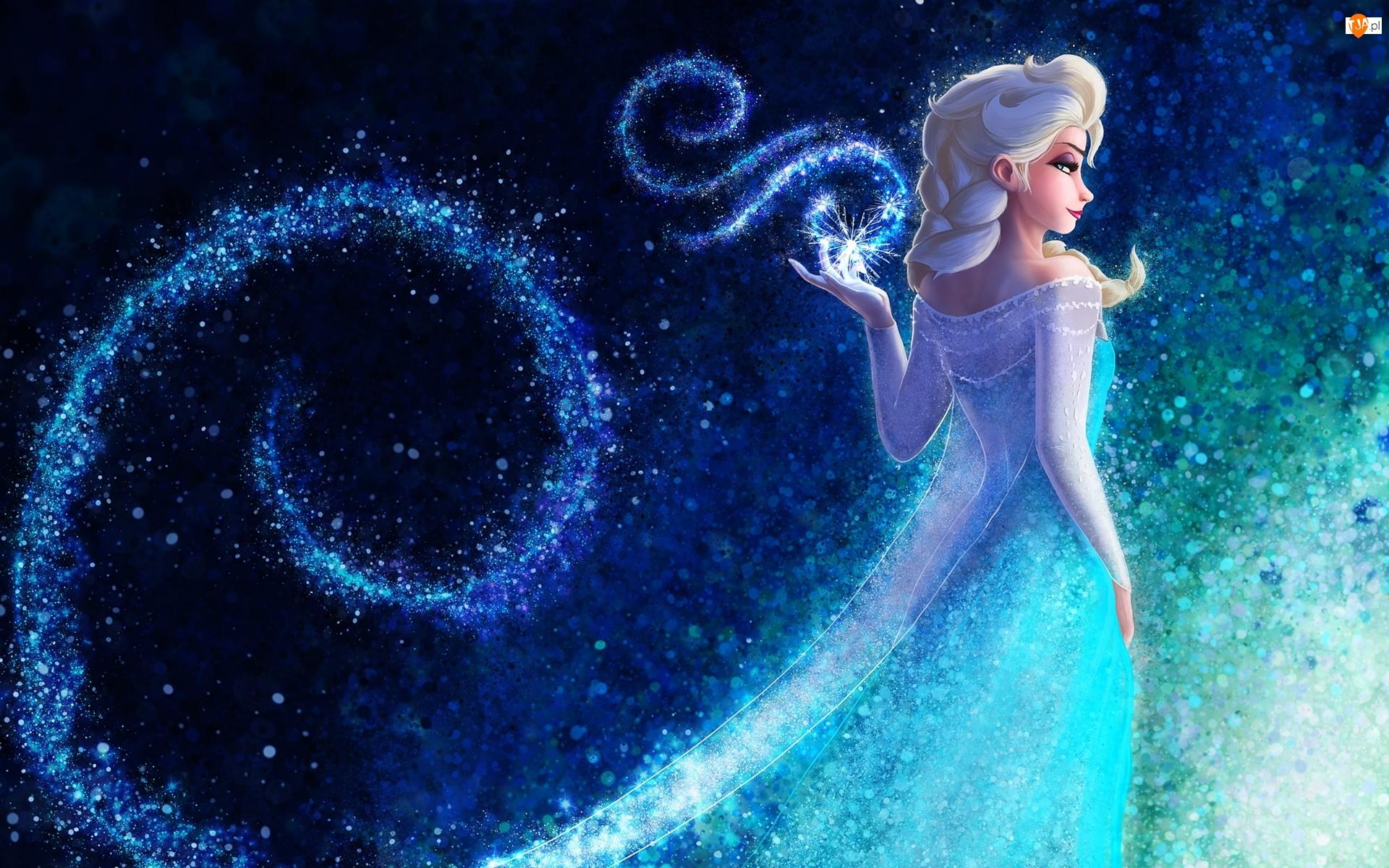 Kraina lodu, Bajka, Postać, Niebieskie tło, Frozen, Elsa