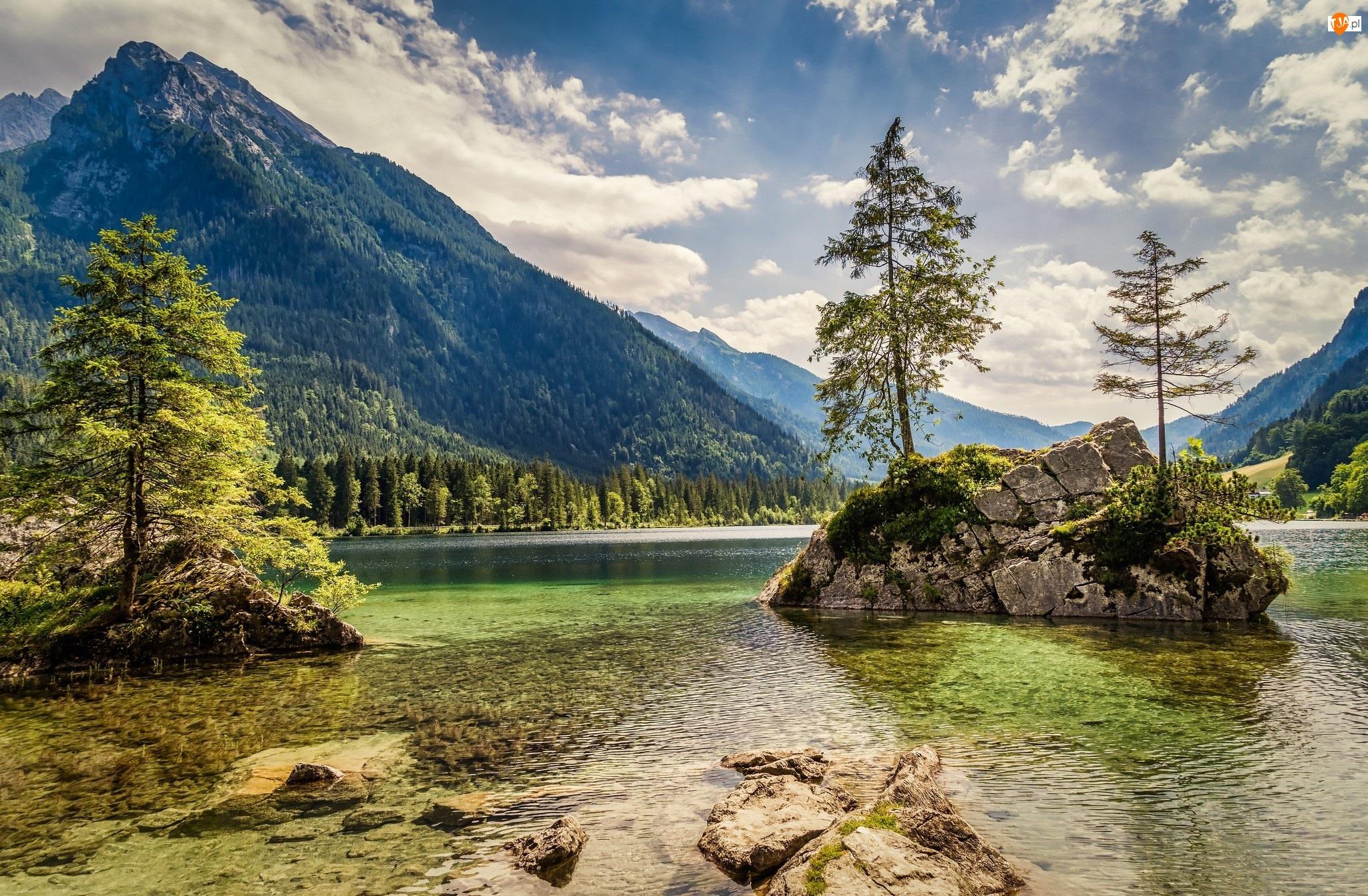 Domy, Jezioro Hintersee, Góry Alpy, Bawaria, Drzewa, Mgła, Niemcy, Skały