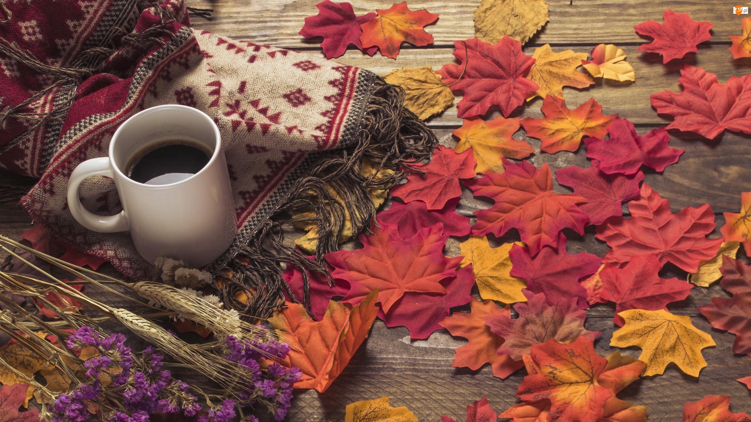 Kwiaty, Kompozycja, Kawa, Liście, Szal