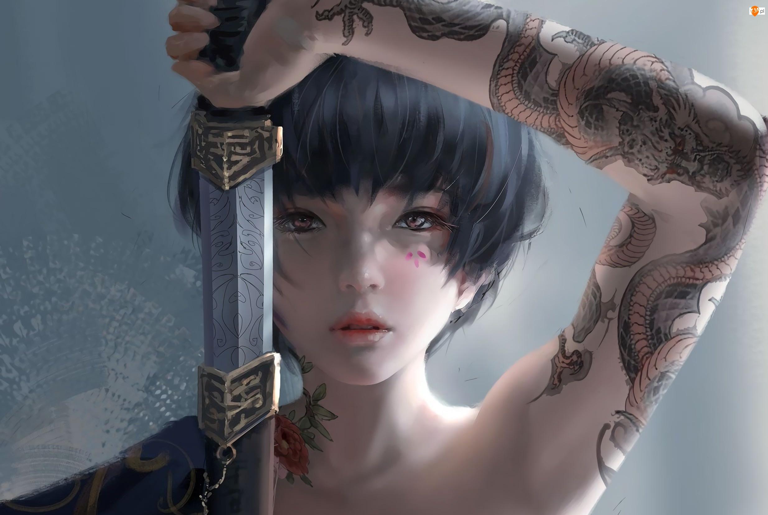Paintography, Dziewczyna, Miecz, Tatuaże