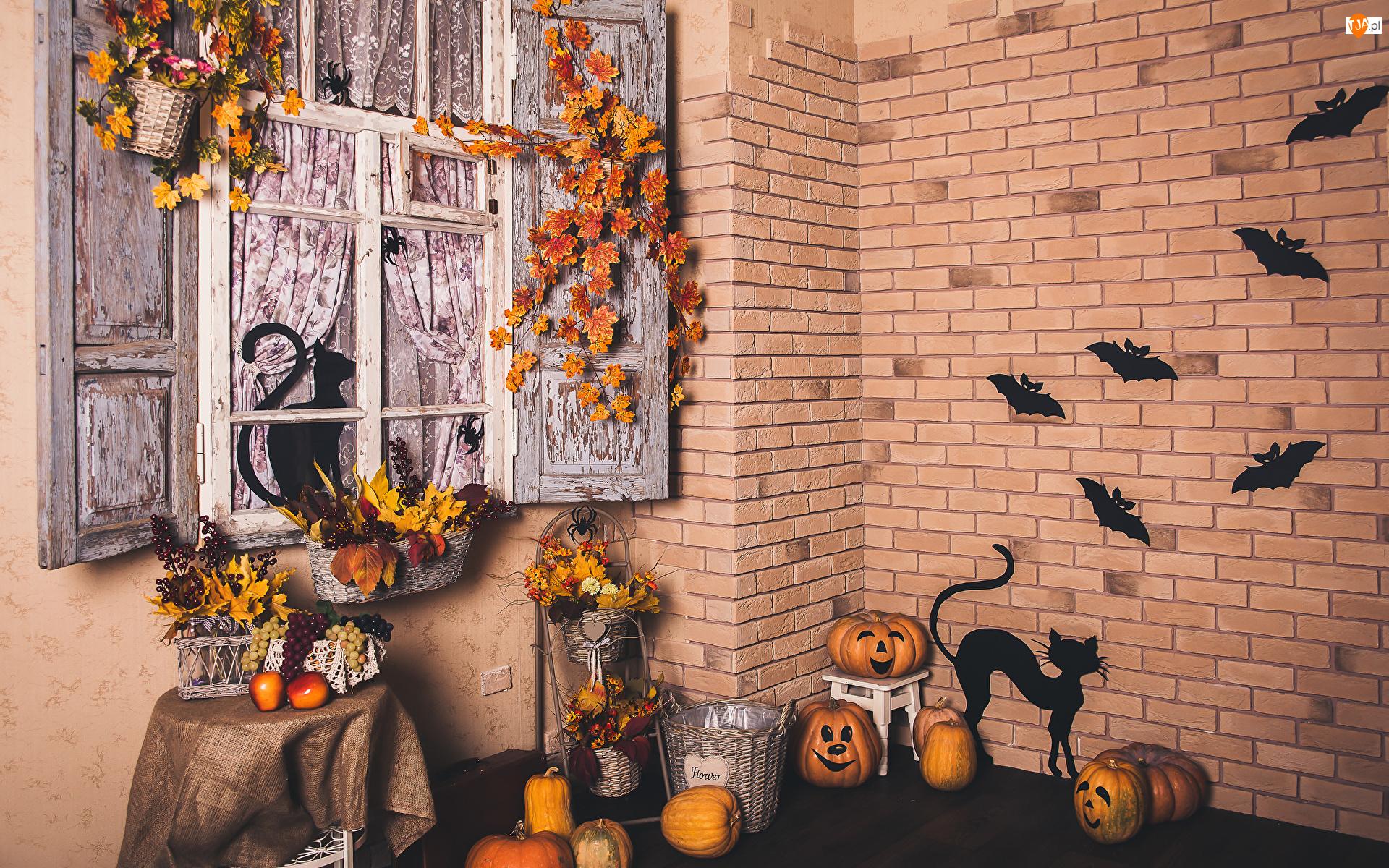 Nietoperze, Dom, Liście, Kwiaty, Koty czarne, Dynie, Koszyki, Halloween, Ozdoby