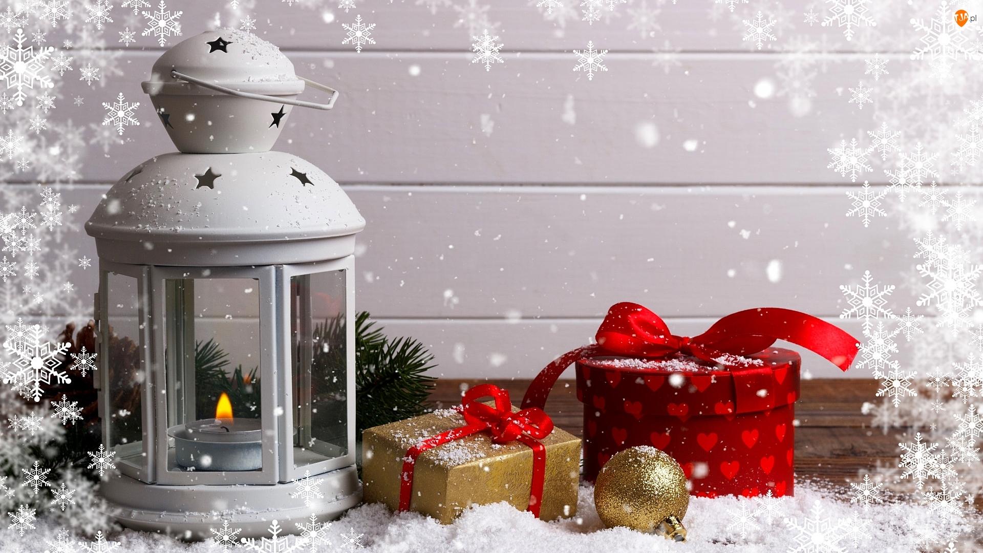 Świeczka, Lampion, Bombka, Boże Narodzenie, Prezenty, Śnieżynki