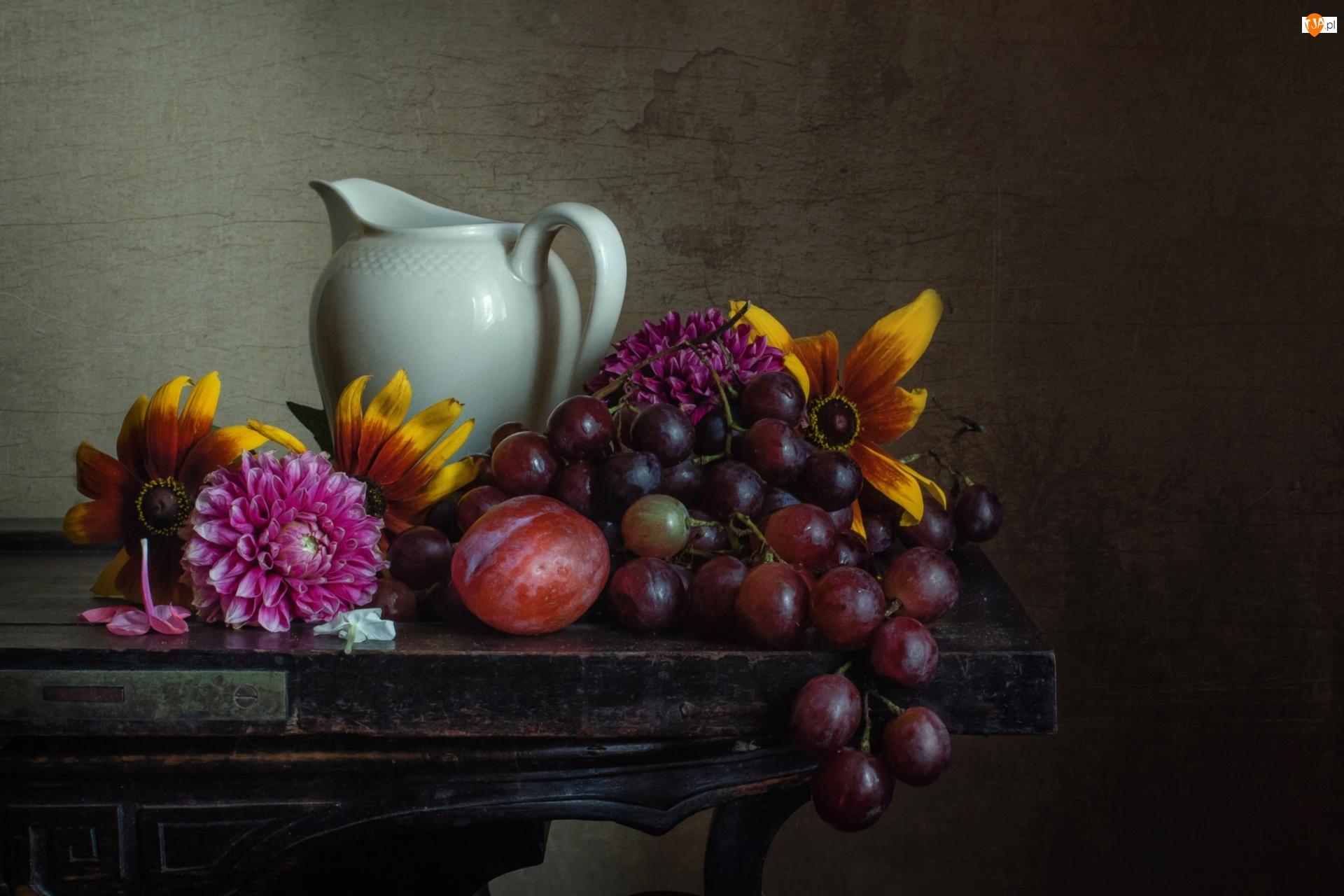 Owoce, Porcelanowy, Chryzantemy, Winogrona, Dzbanek, Rudbekie, Śliwka, Kwiaty