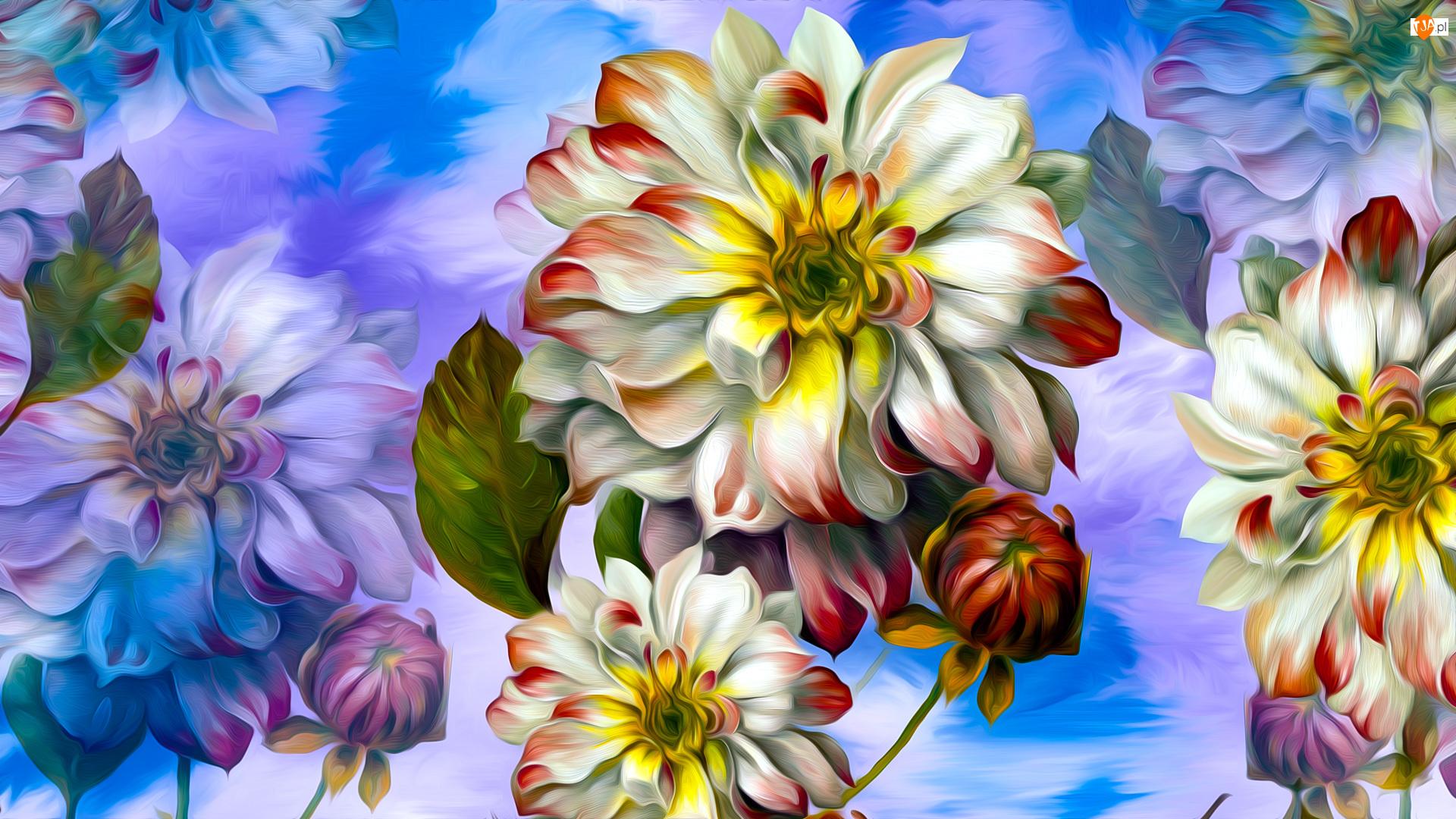 Niebieskie tło, Kwiaty, Grafika