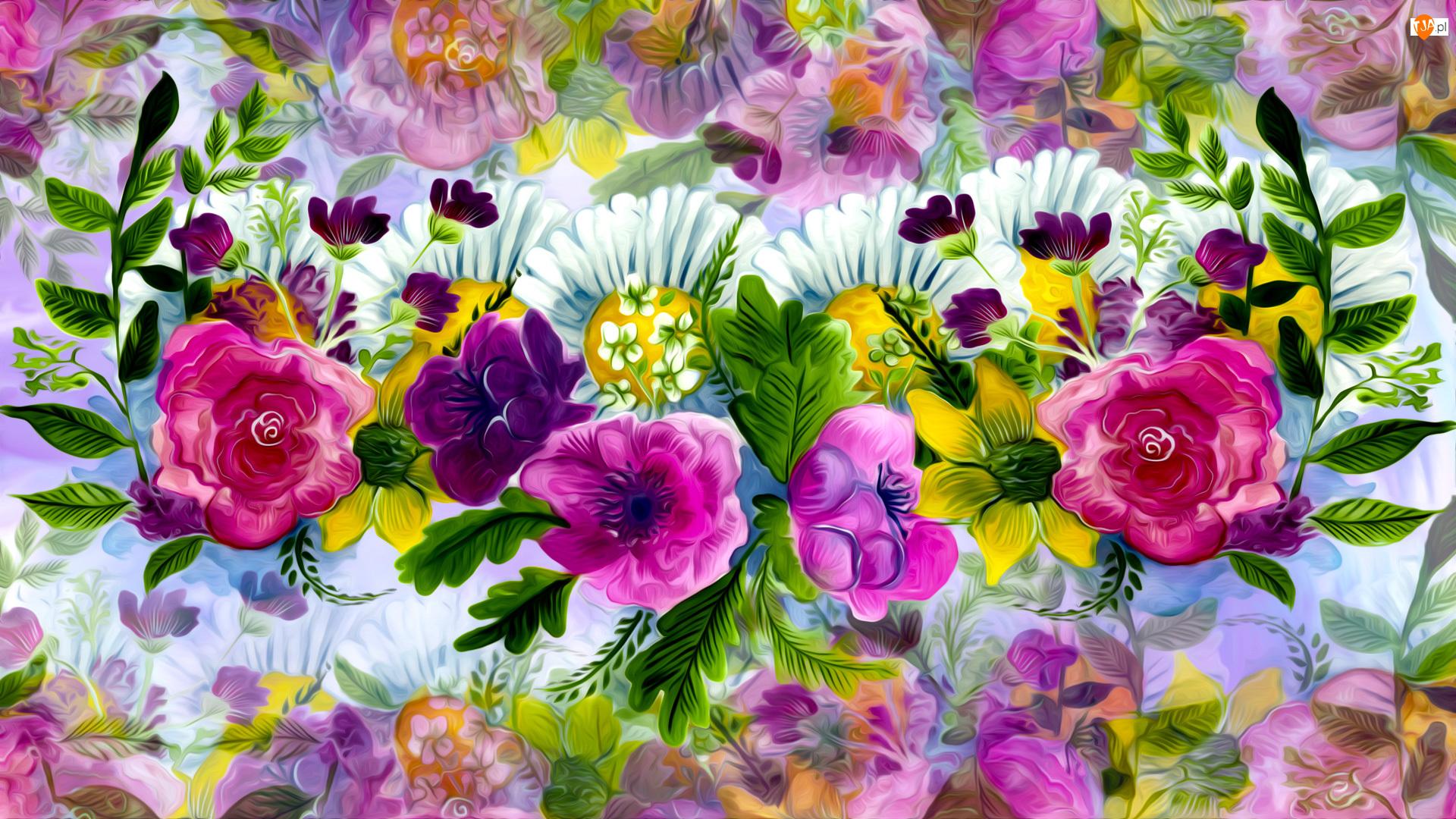 Grafika, Różnorodne, Kolorowe, Kwiaty