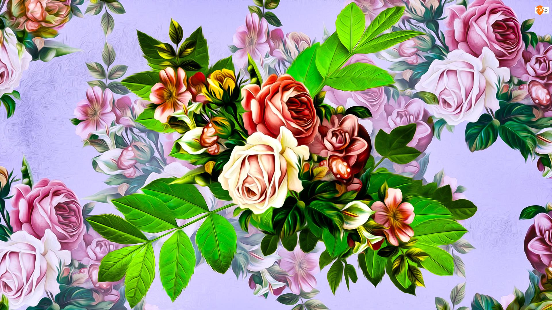 Grafika, Kwiaty, Róże, Listki