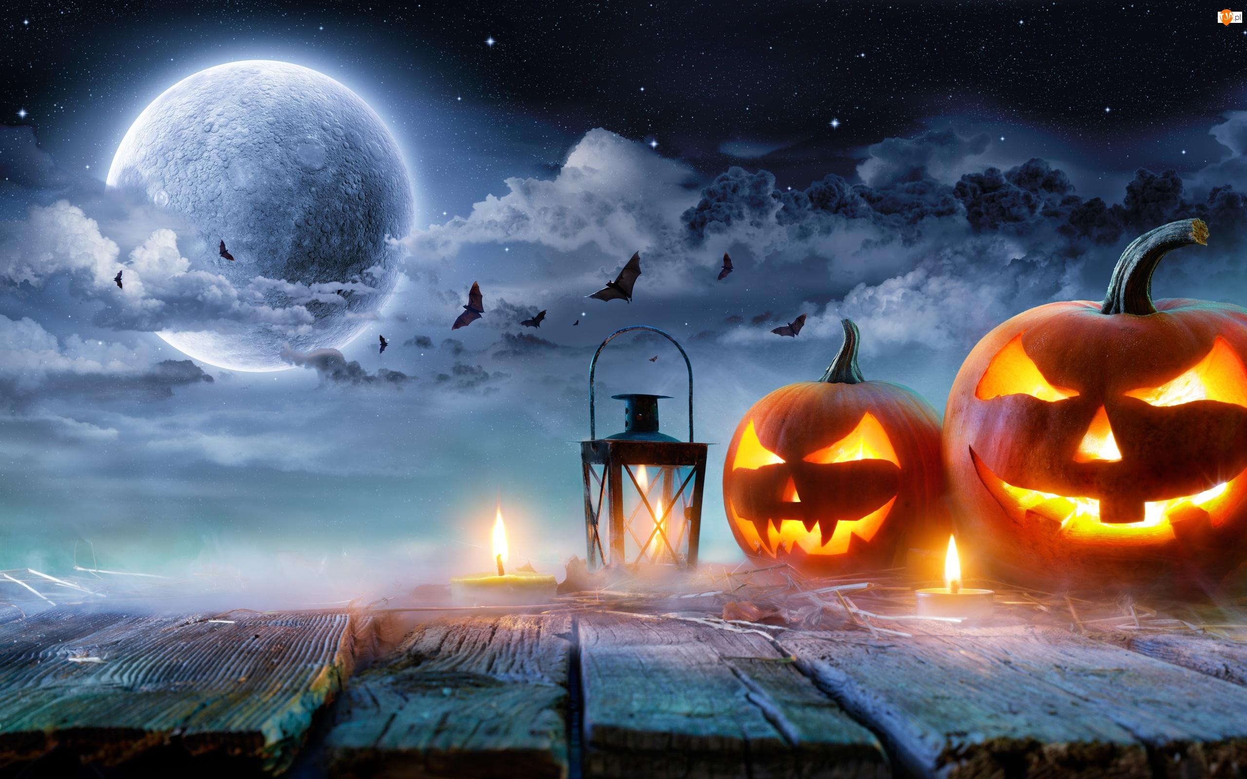 Niebo, Halloween, Świece, Księżyc, Dynie, Gwieździste, Nietoperze, Lampion