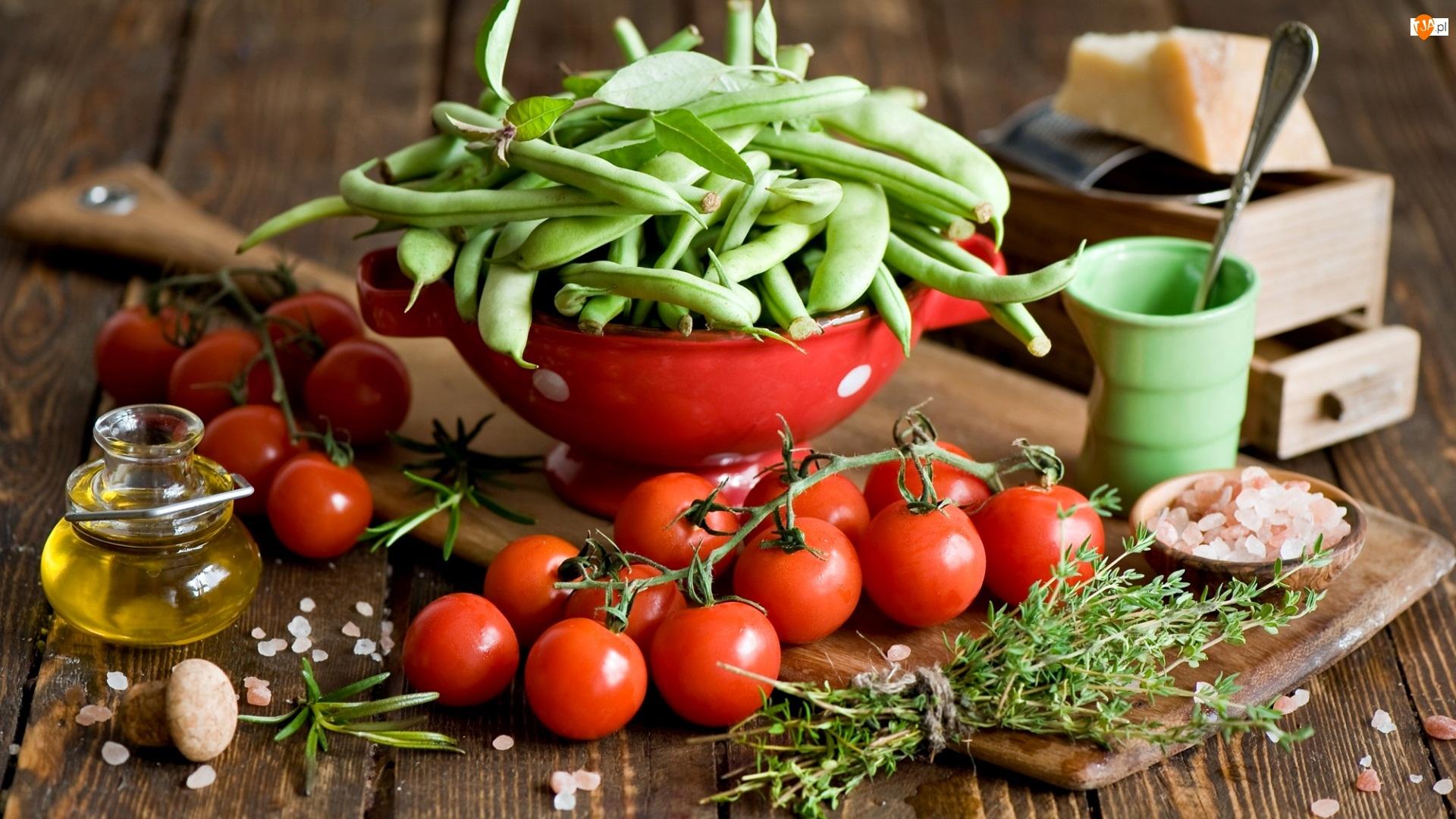 Fasolka zielona, Pomidory, Olej, Miska, Zioła, Czerwona