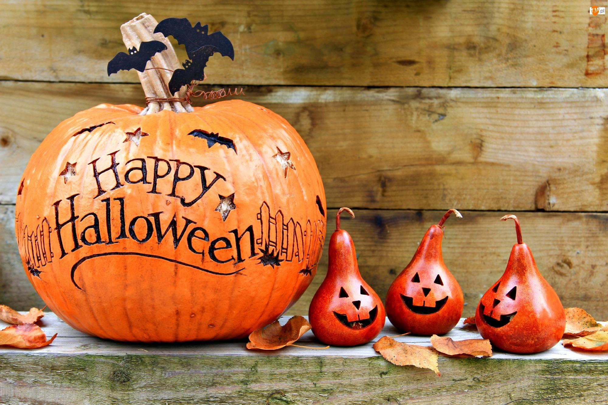Dynia, Halloween, Gruszki, Deski, Nietoperze, Liście