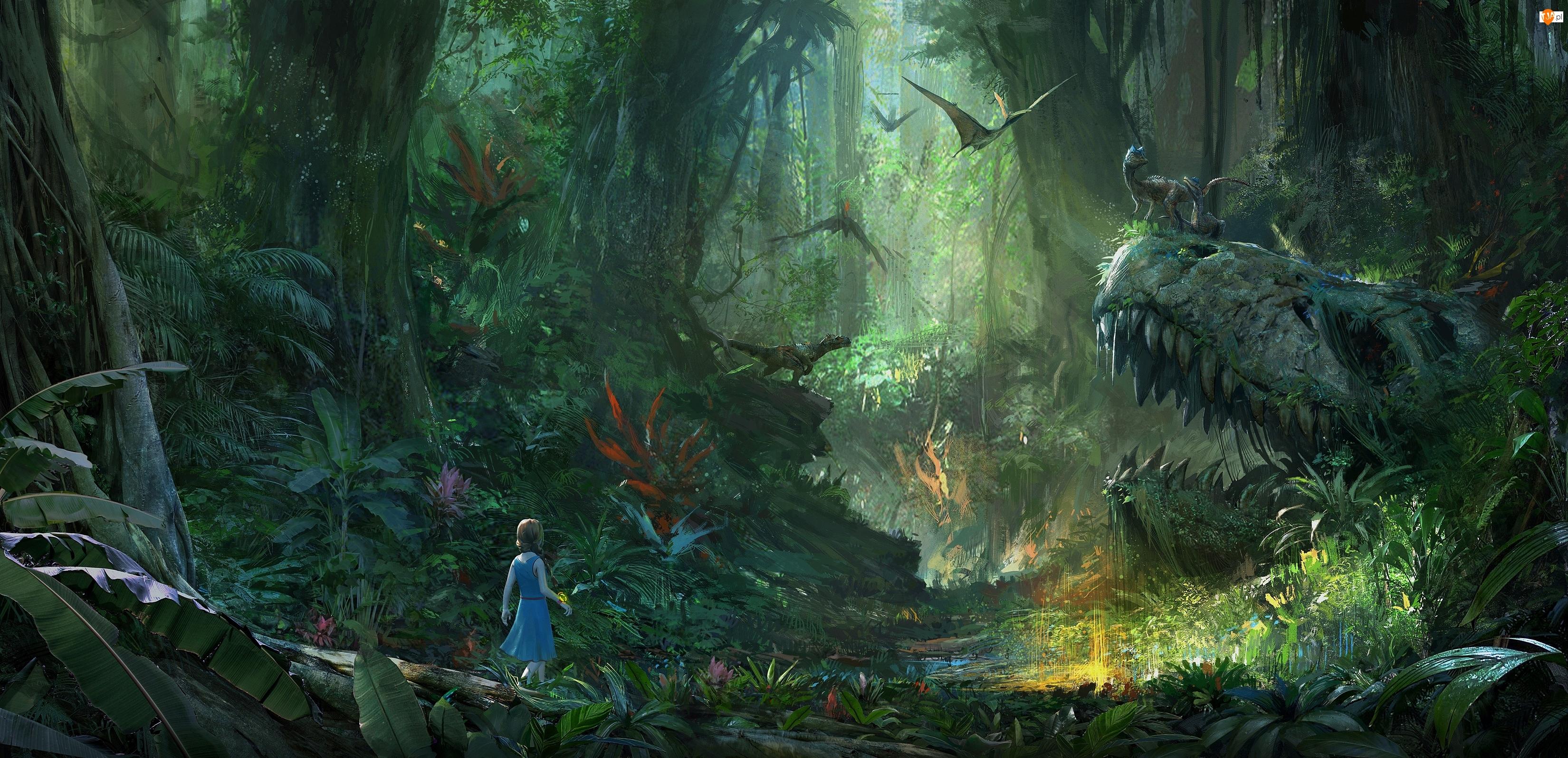 Tyranozaury, Gra, Szkielet, Latające, Ark : Survival Evolved, Dinozaura, Pterodaktyle, Dziewczynka