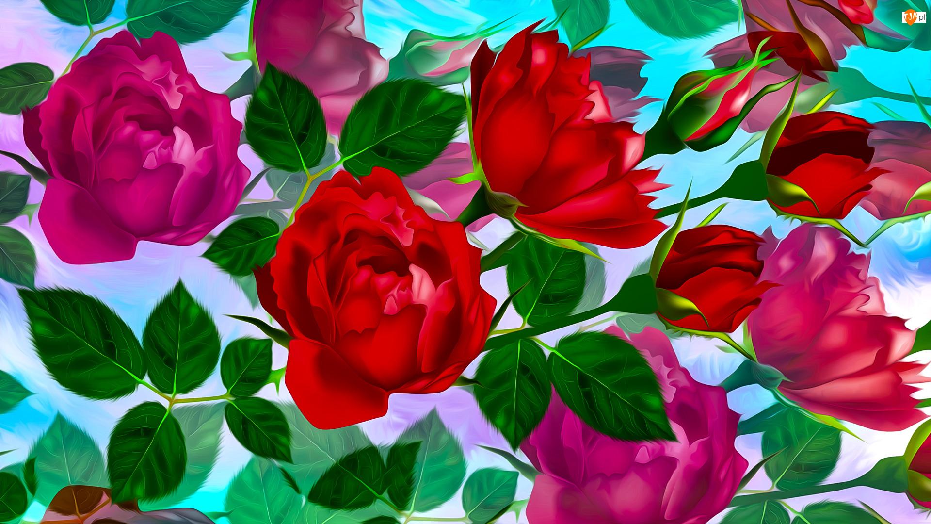 Róże, Grafika, Kwiaty, Czerwone