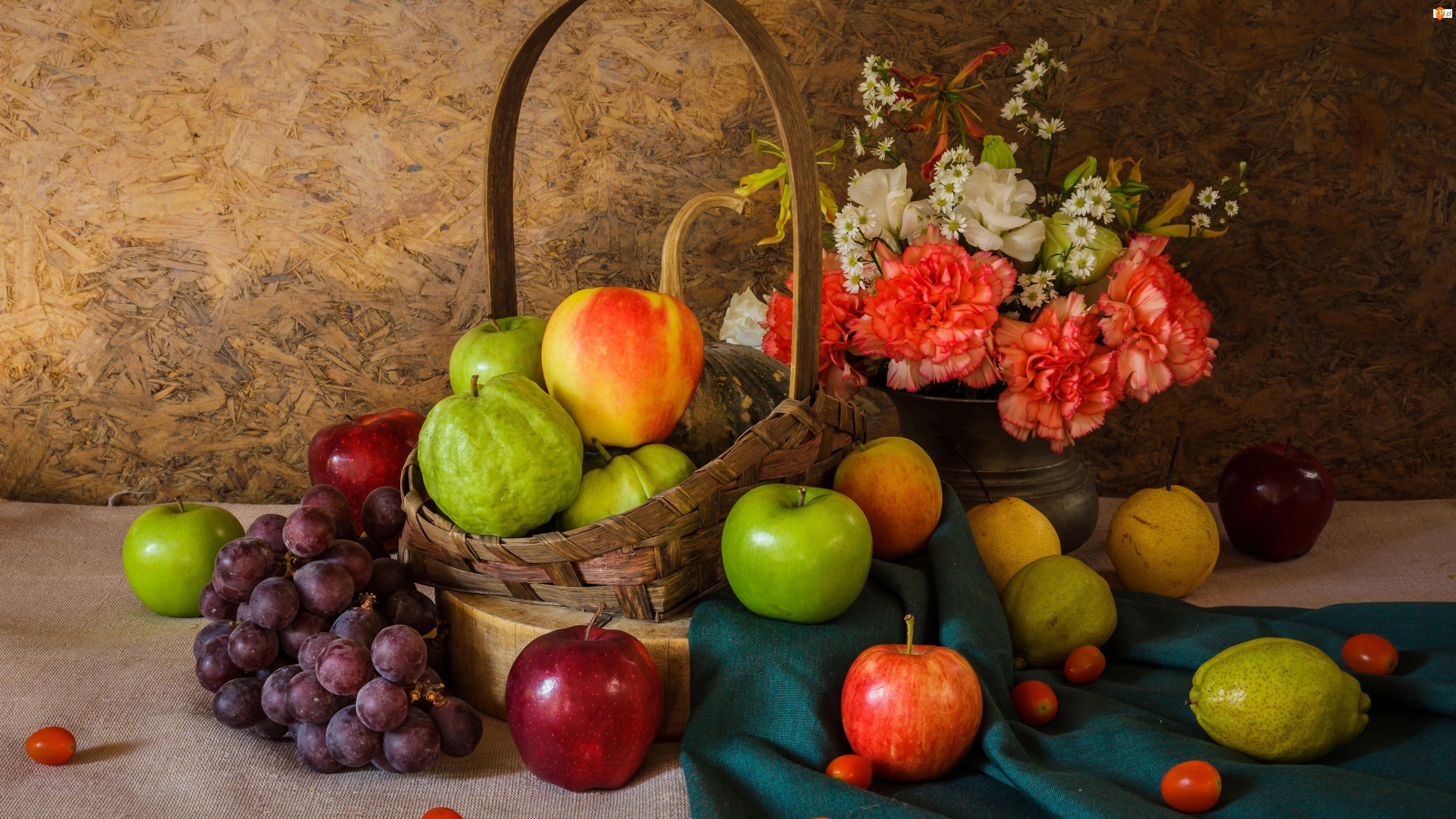 Jabłka, Gruszki, Goździki, Owoce, Bukiet kwiatów, Koszyk, Winogrona