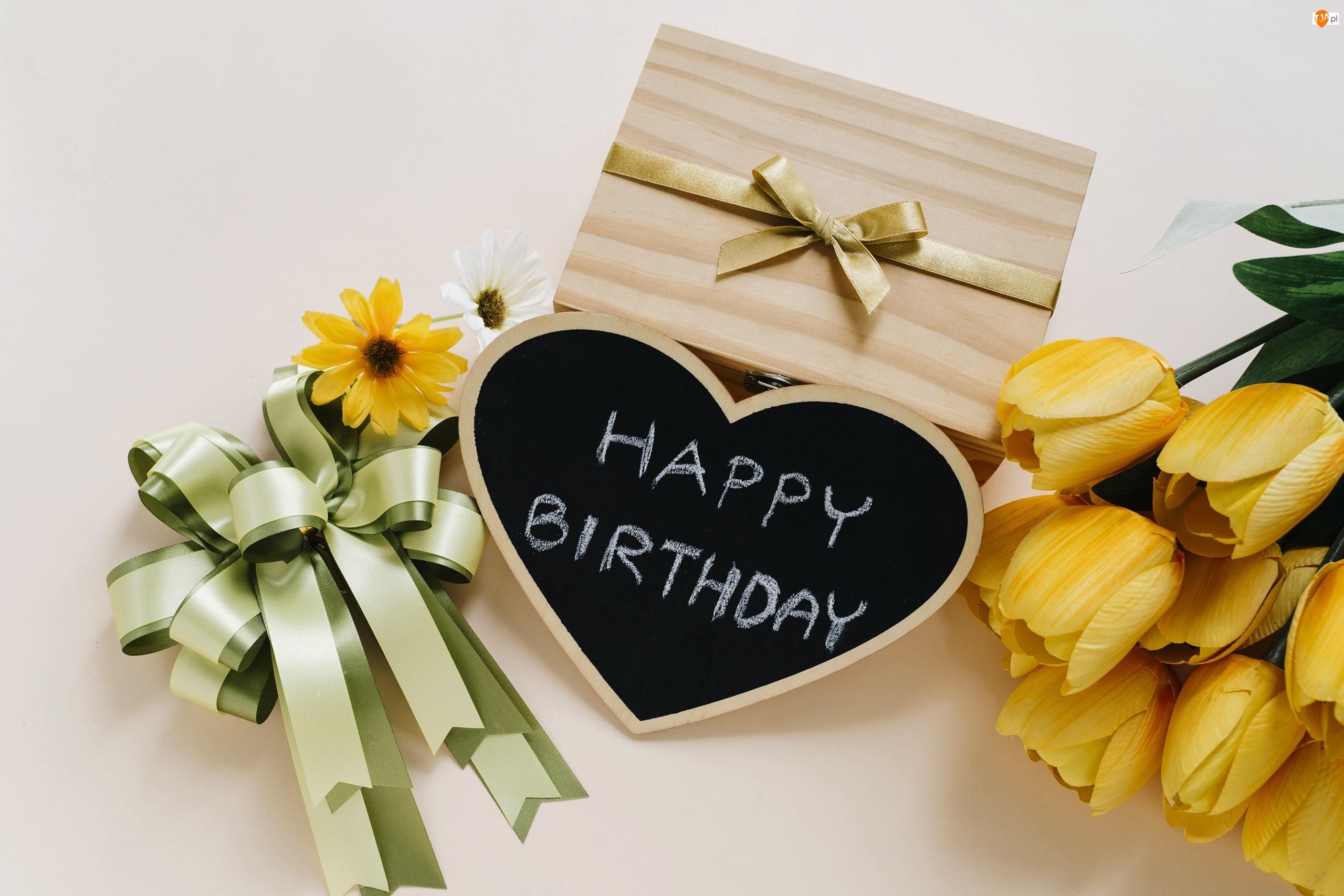 Kwiaty, Urodziny, Prezent, Życzenia, Tulipany, Serce