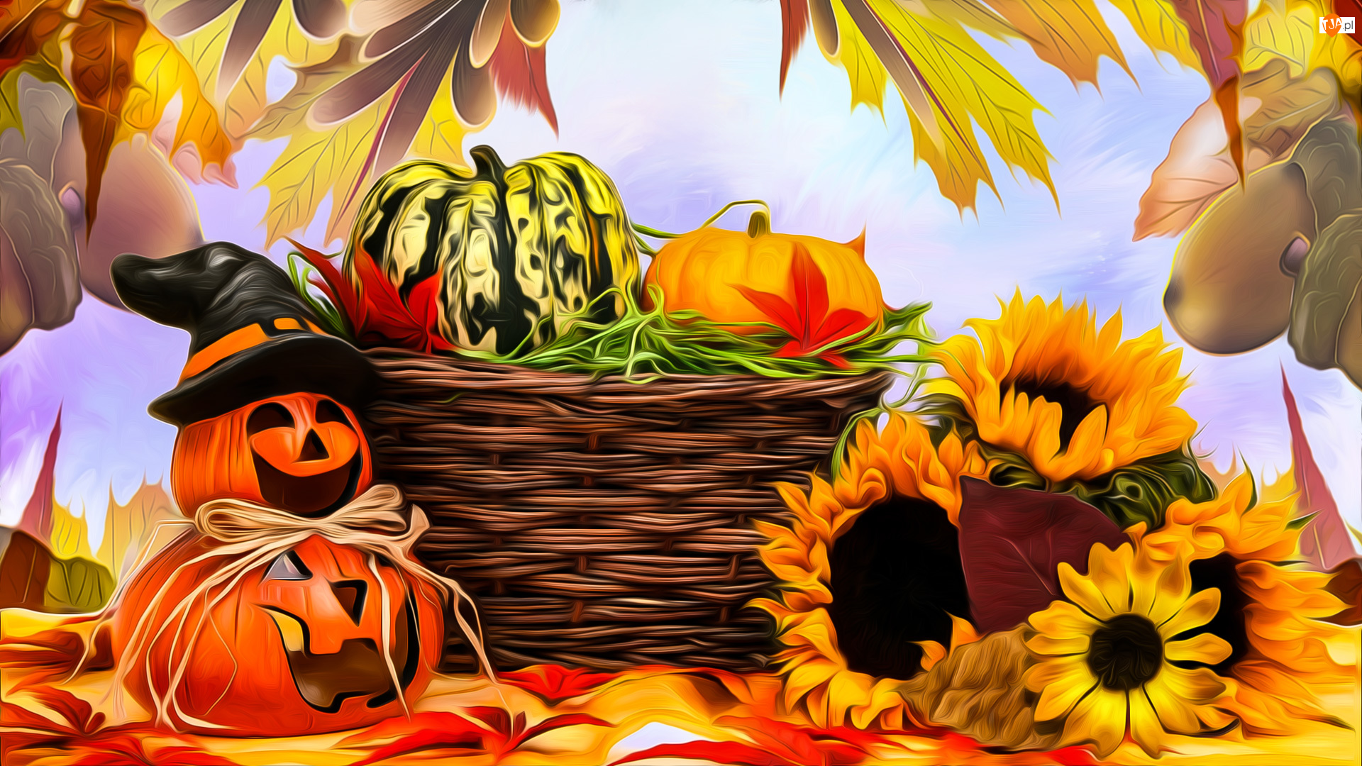 Liście, Halloween, Dynie, Słoneczniki, Koszyk, Kwiaty