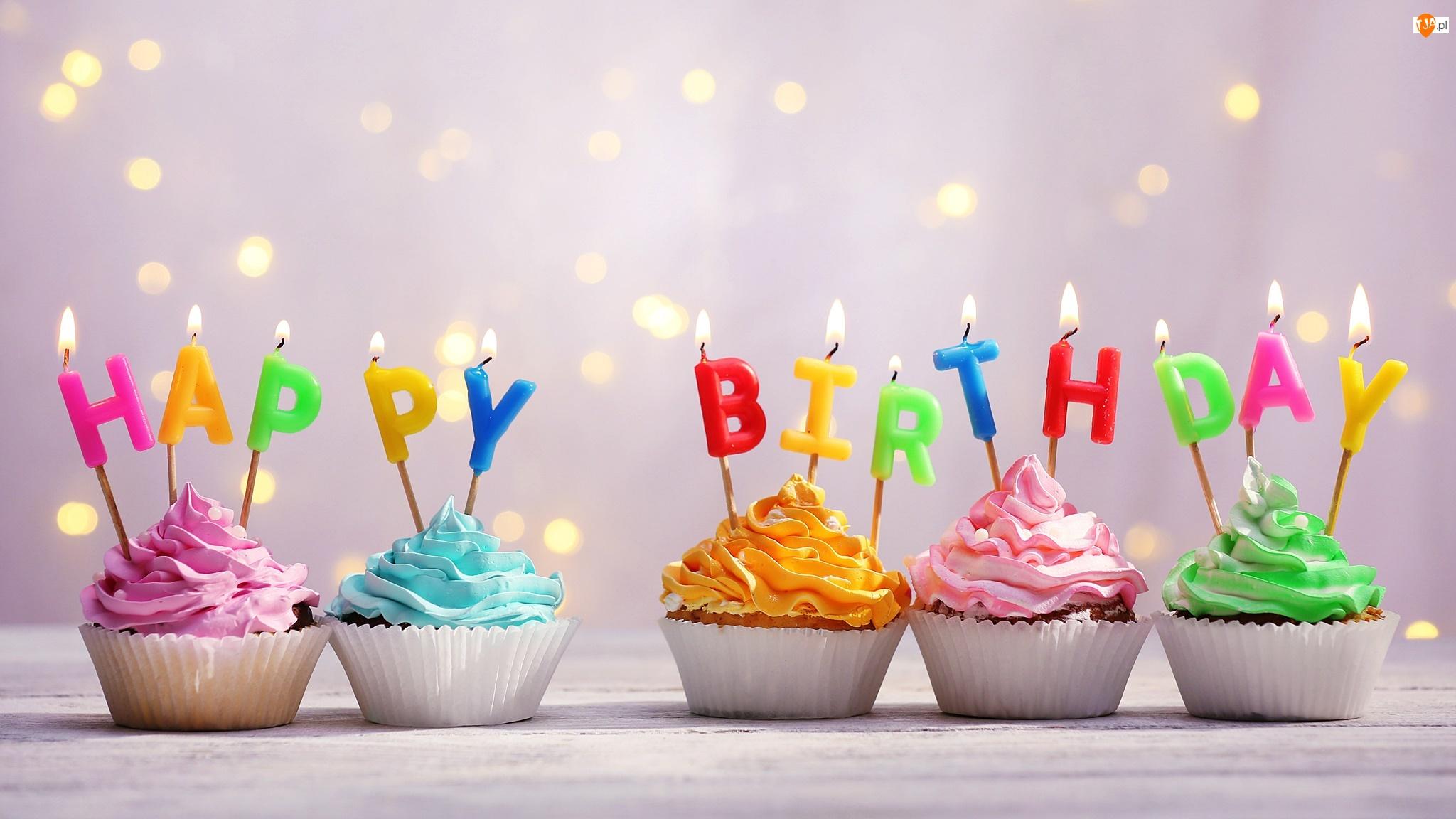 Życzenia, Urodziny, Babeczki, Świeczki