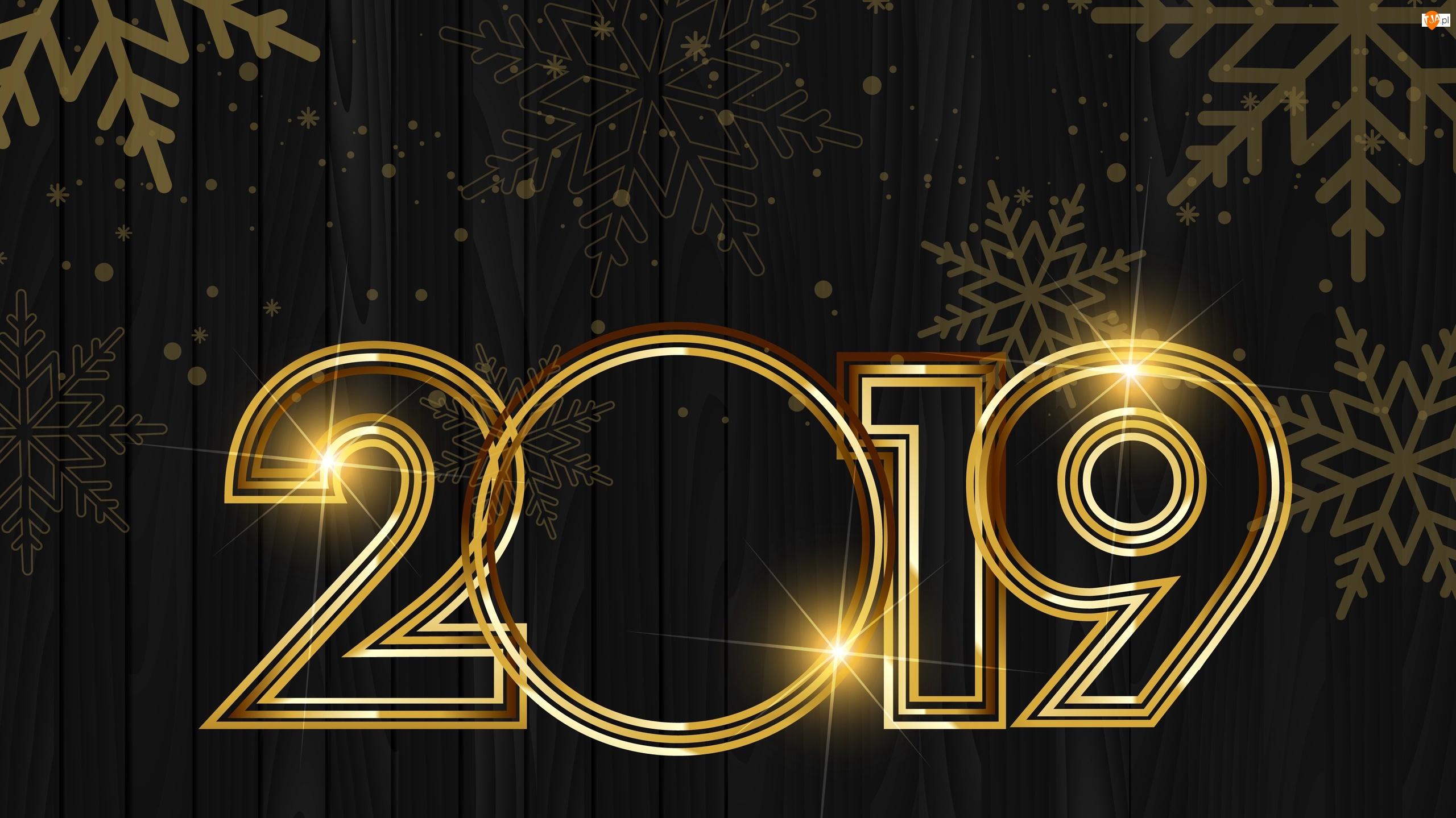 2019, Nowy Rok, Cyfry, Deski, Złote, Śnieżynki