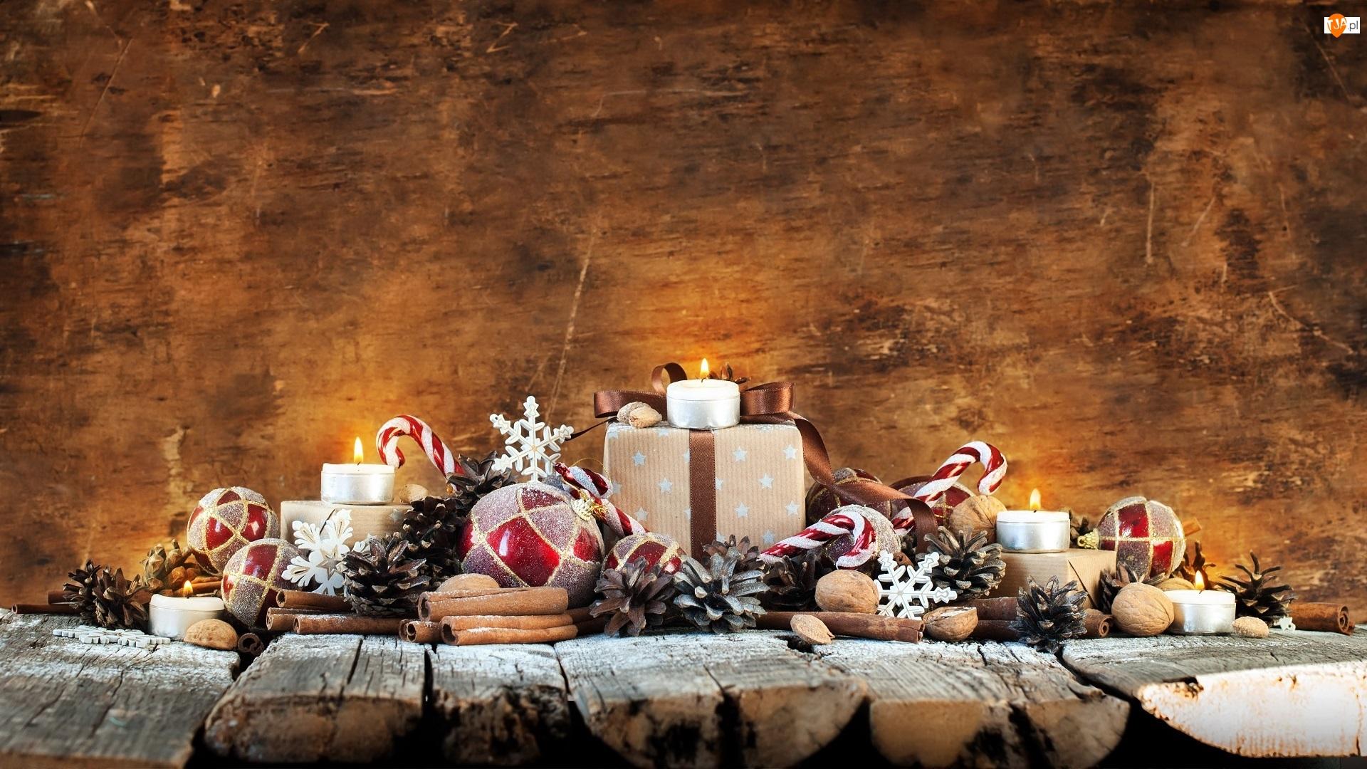 Świąteczne, Bombki, Prezenty, Cynamonu, Gwiazdki, Świeczki, Szyszki, Boże Narodzenie, Laski