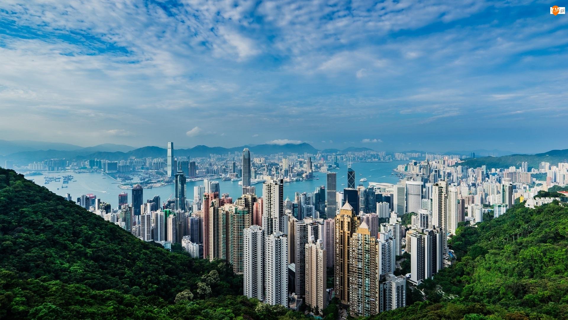 Drapacze chmur, Chiny, Hongkong, Wzgórze Wiktorii