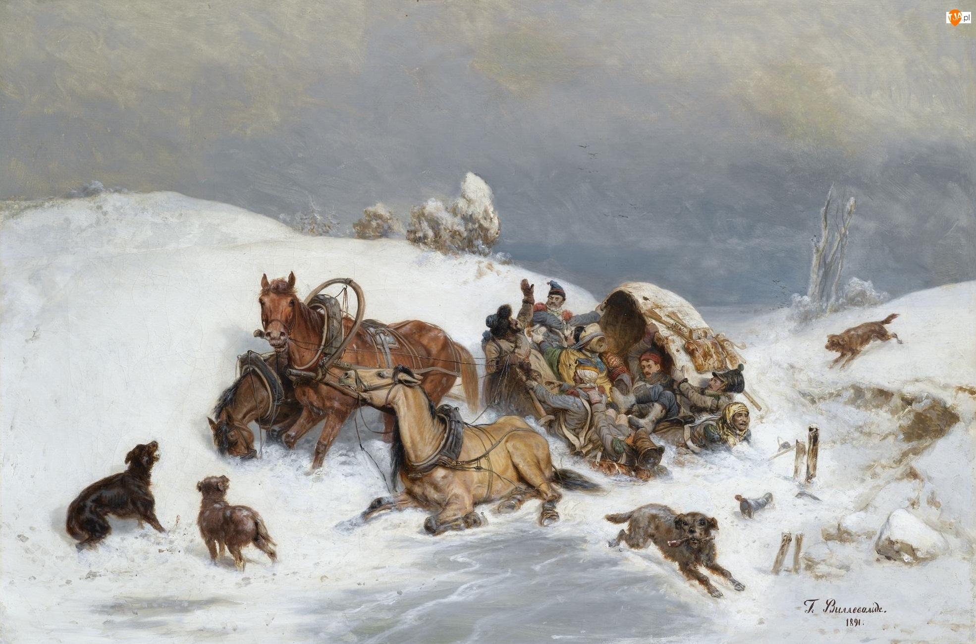 Psy, Obraz, Konie, Przewrócony, Bogdan Willewalde, Trojka, Wóz, Zima