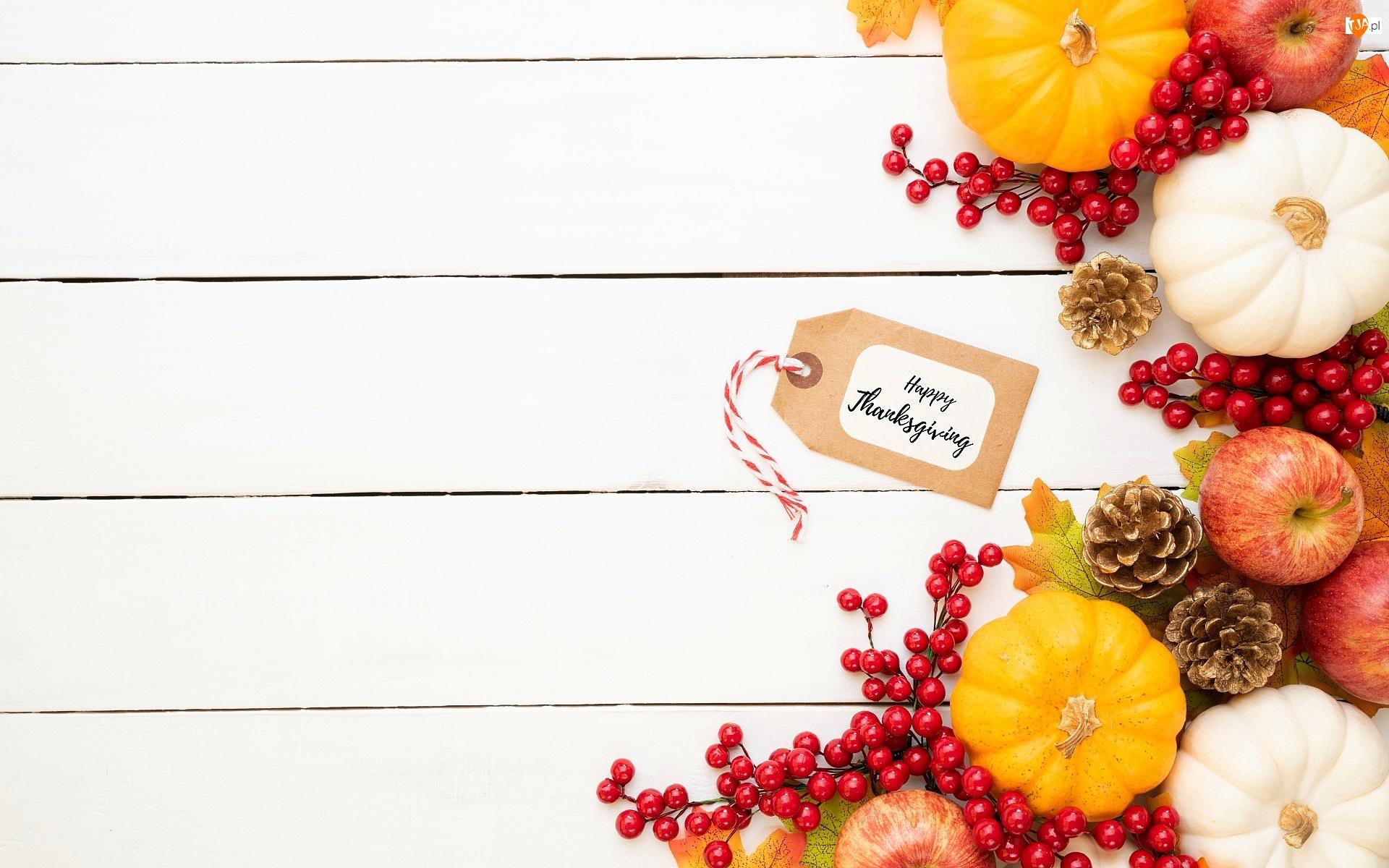 Deski, Dynie, Sztuczne, Święto Dziękczynienia, Jabłka, Jagody, Thanksgiving, Szyszki