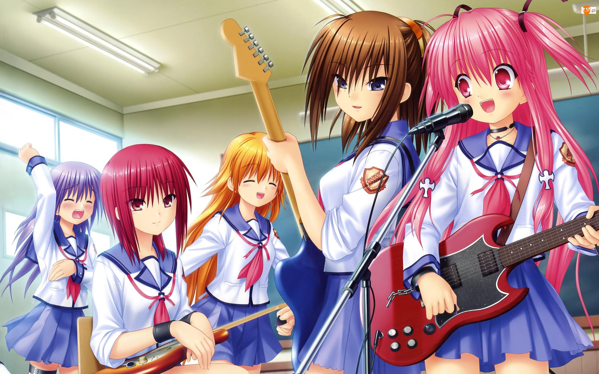 Mikrofon, Angel Beats, Gitary, Zespół, Muzyka, Szkoła, Klasa, Anime, Dziewczyny