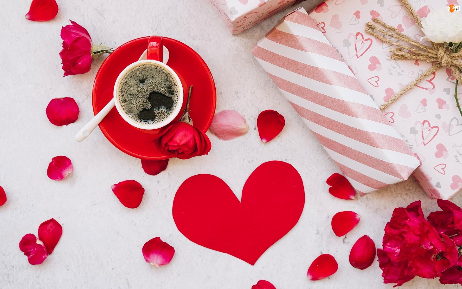 Prezenty, Walentynki, Róże, Kawa, Serce