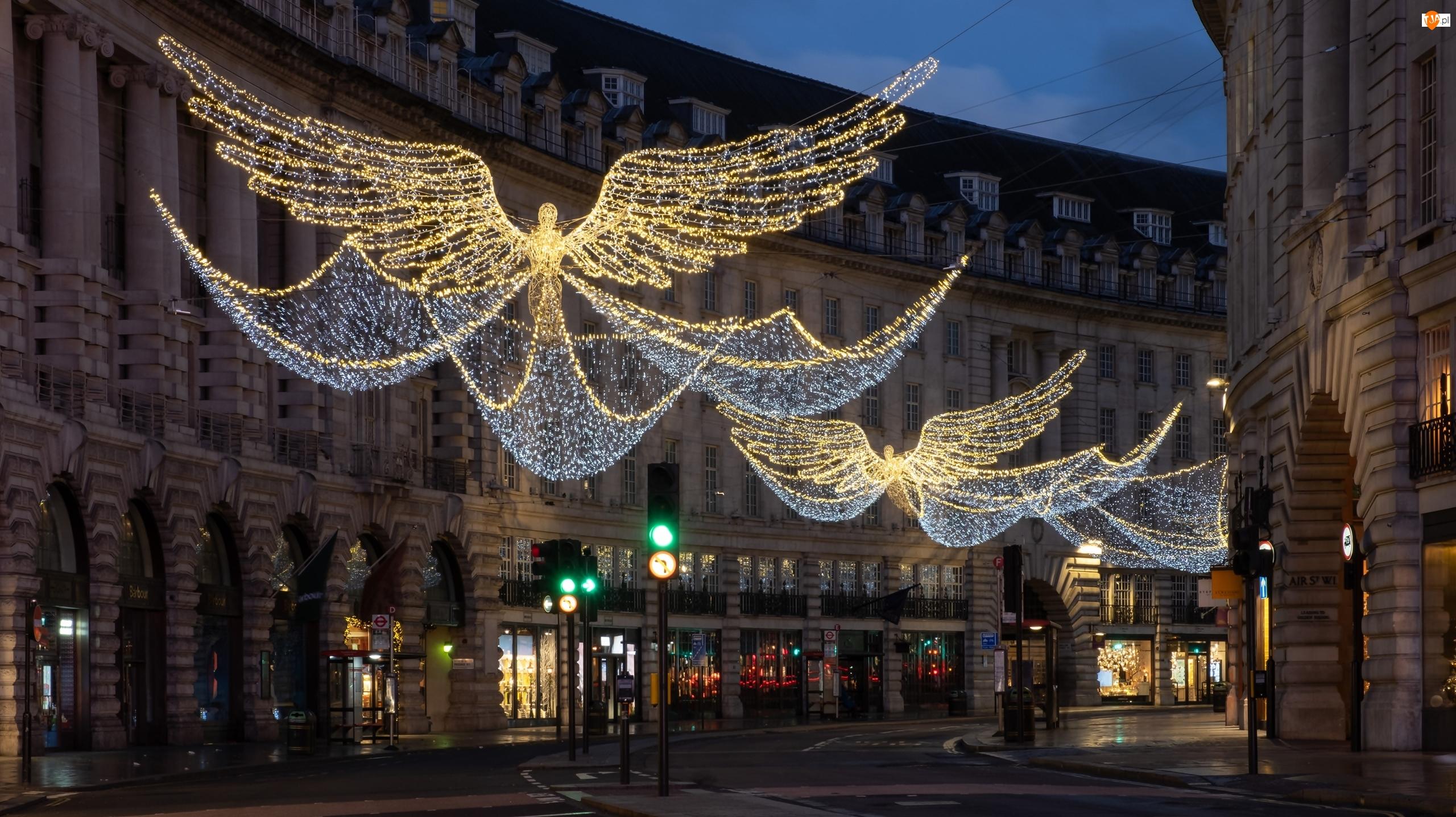 Ulica, Domy, Świąteczna, Noc, Dekoracja, Światełka