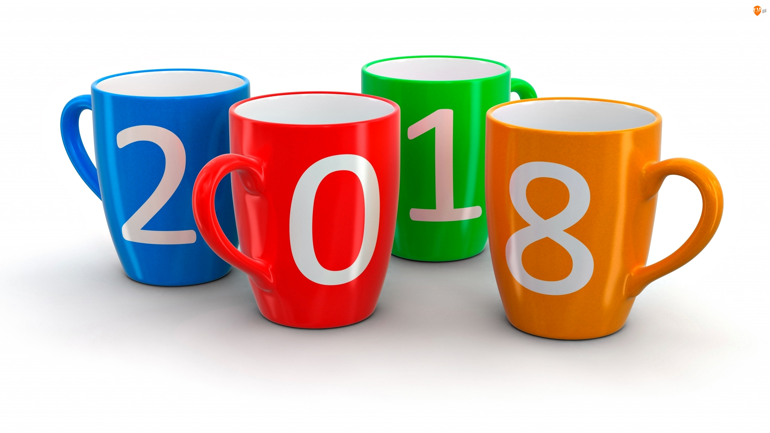 Nowy rok, Białe tło, Kolorowe, Kubki, 2018