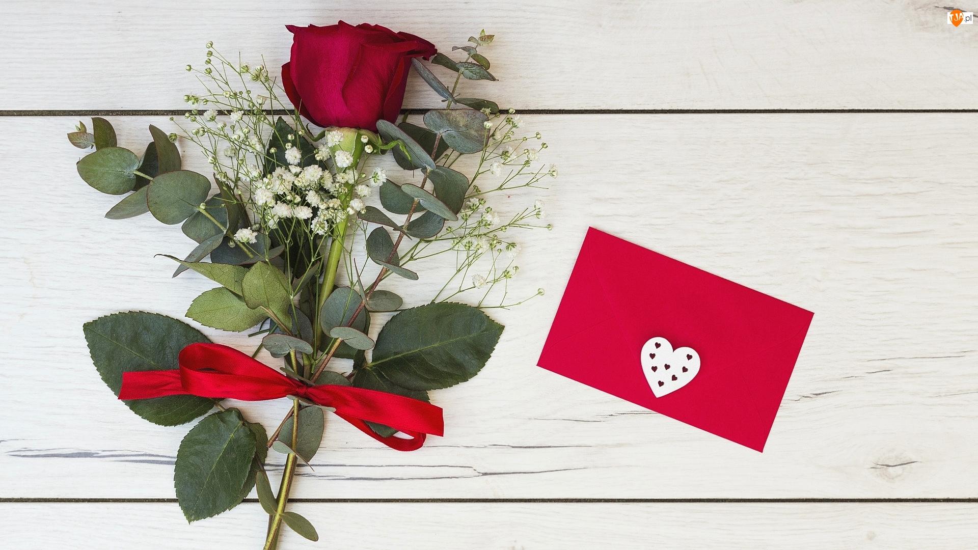 Gipsówka, Wstążeczka, Walentynki, Róża, Serduszko, Koperta, Czerwona
