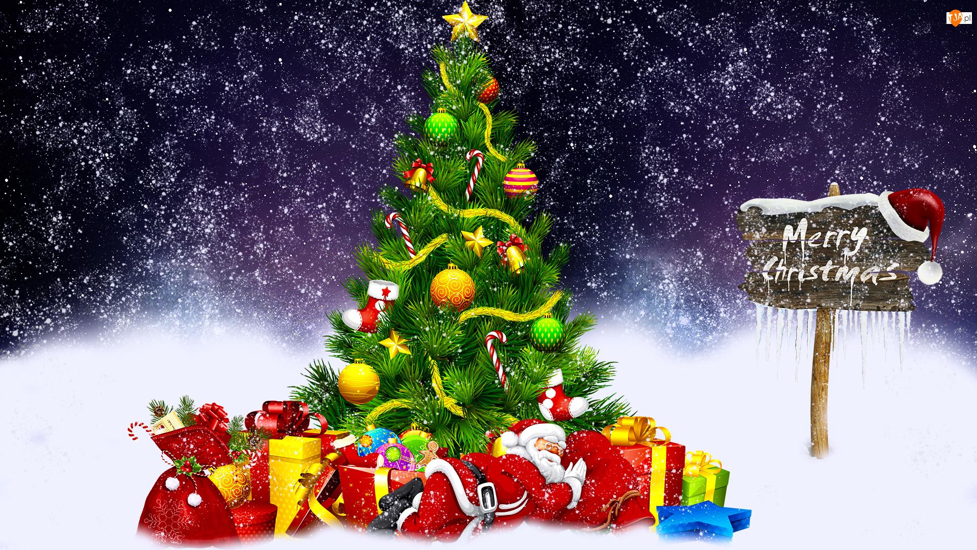 Śnieg, Choinka, Mikołaj, Grafika 2D, Prezenty, Boże Narodzenie