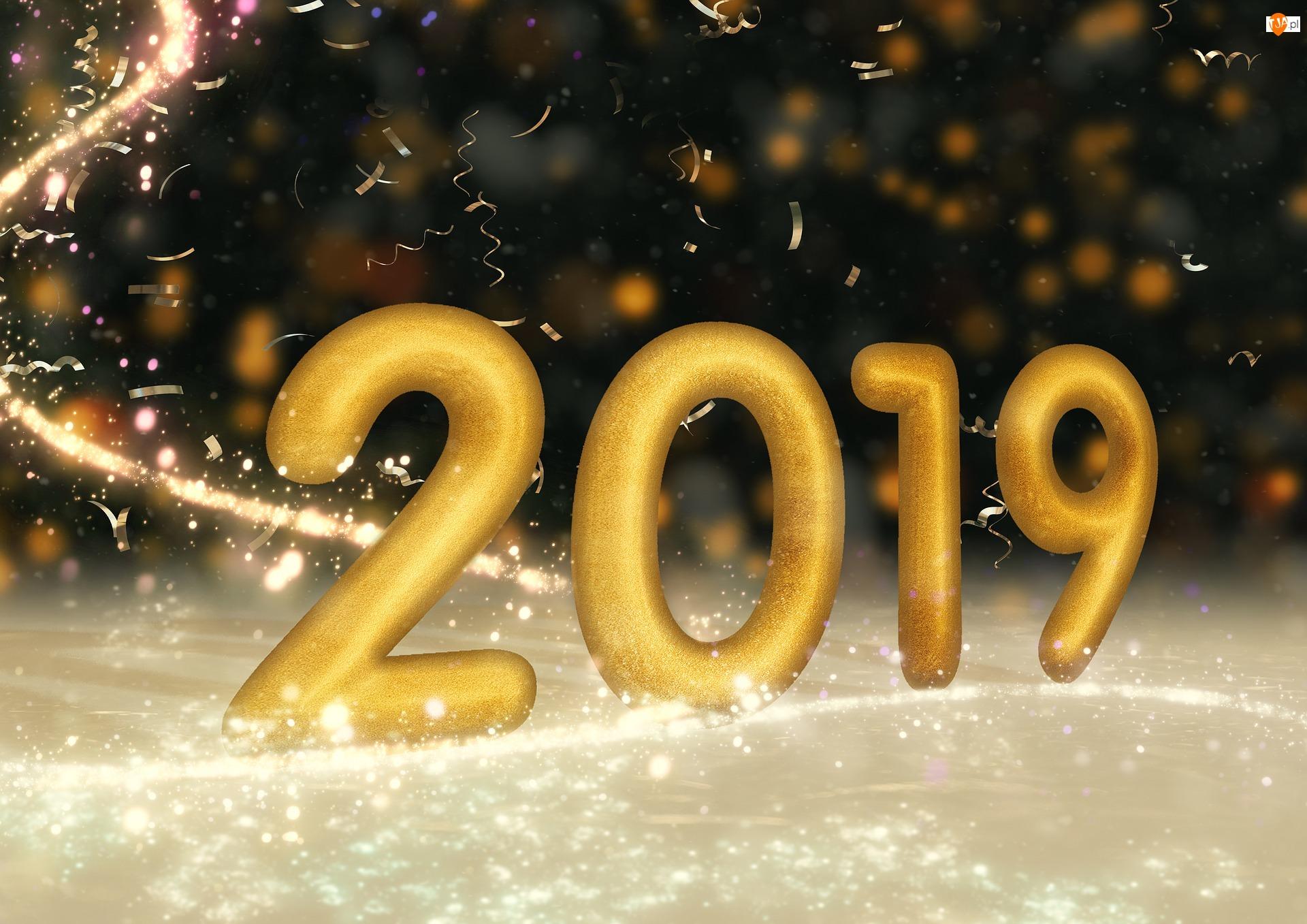 2019, Nowy Rok, Cyfry, Złote, Sylwester