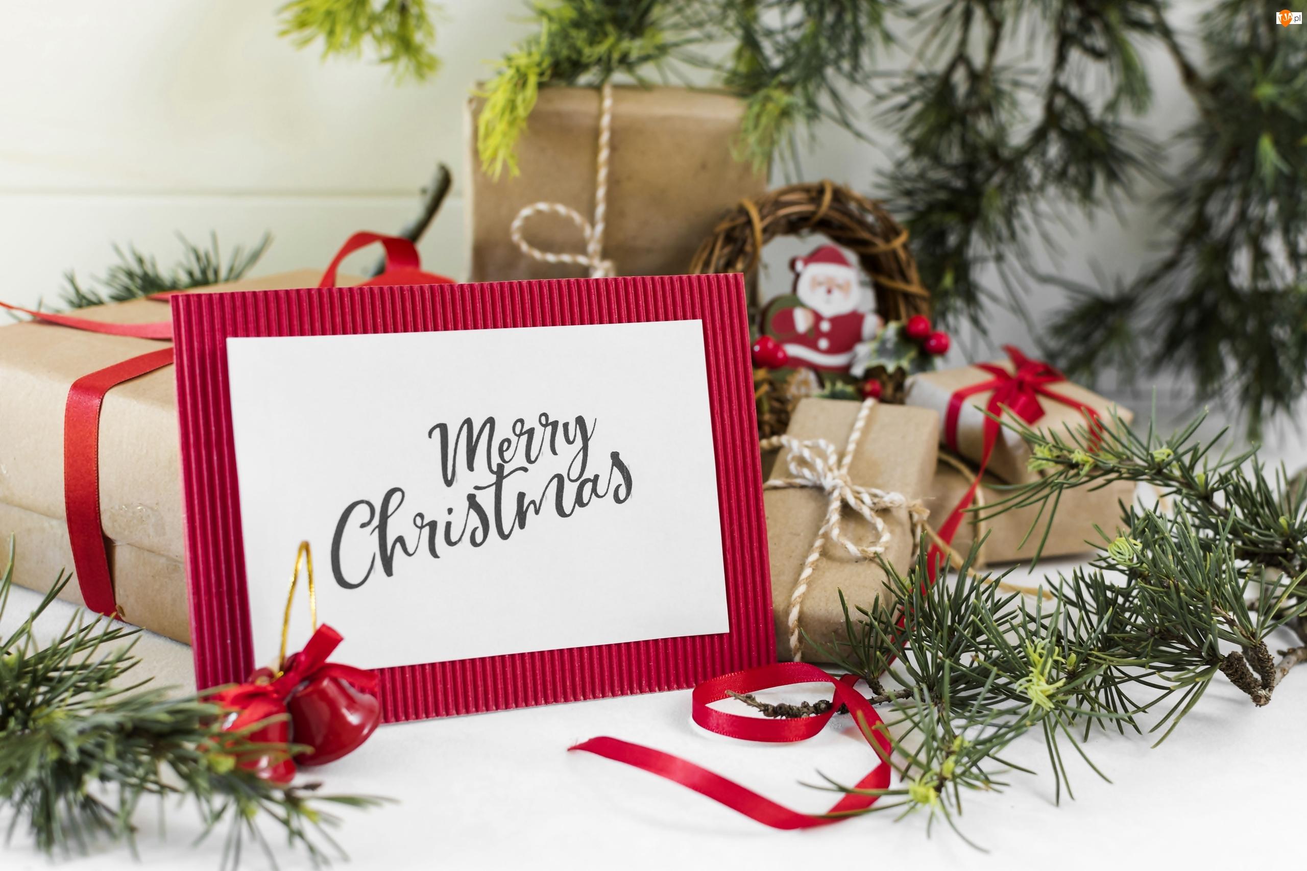 Merry Christmas, Prezenty, Ramka, Napis