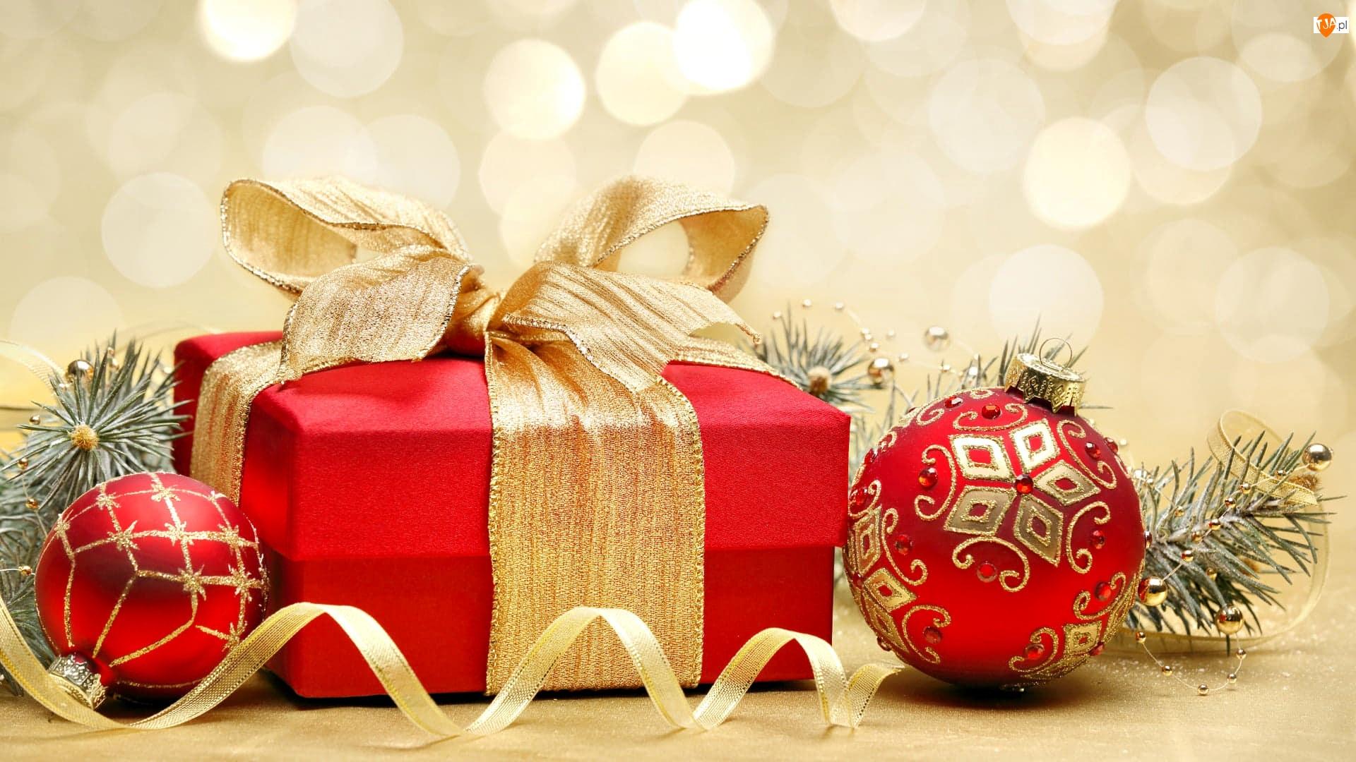 Prezent, Boże Narodzenie, Bombki, Gałązki, Czerwone, Wstążka