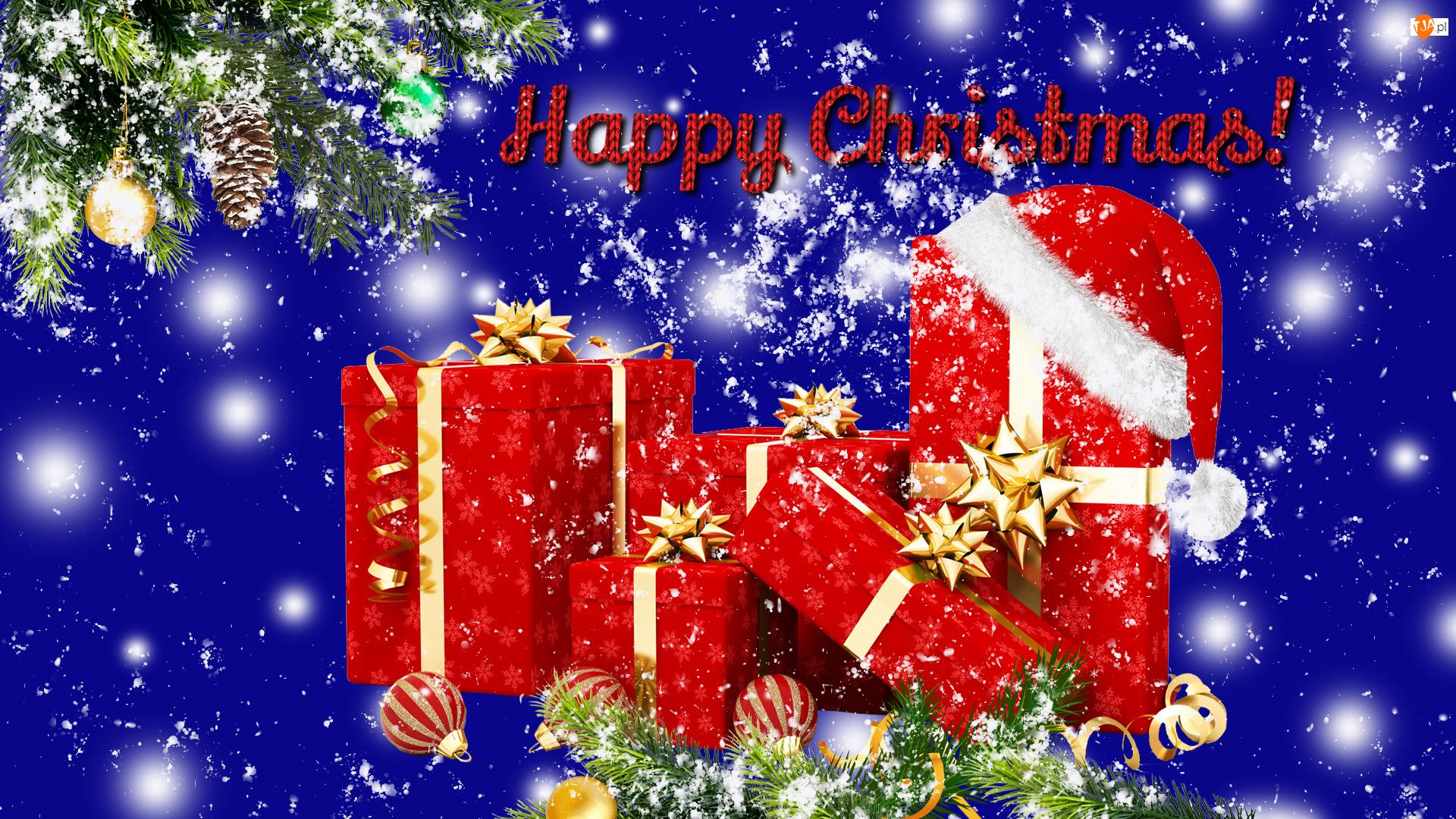 Gałązka, Grafika, Prezenty, Boże Narodzenie, Bombki