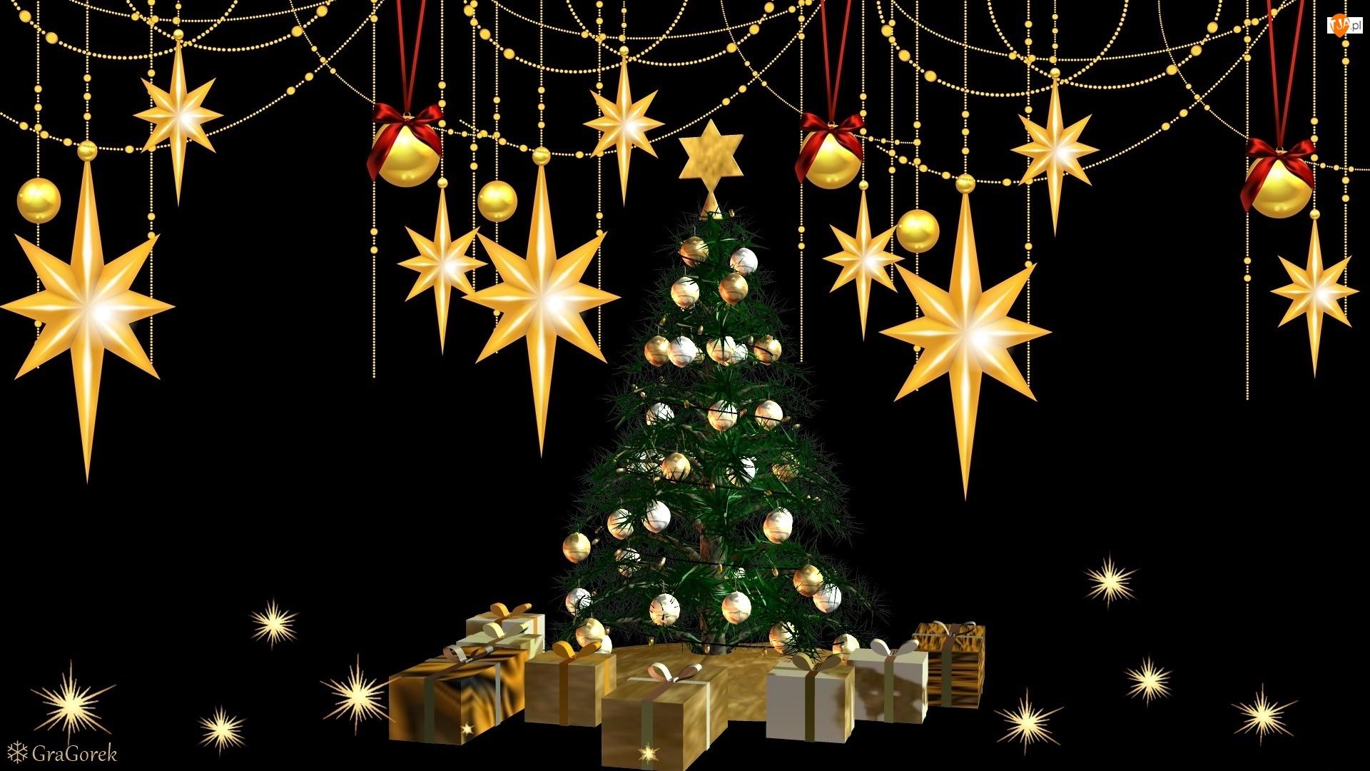 Czarne, Boże Narodzenie, Choinka, Tło, Gwiazdy, Prezenty, Grafika, Bombki