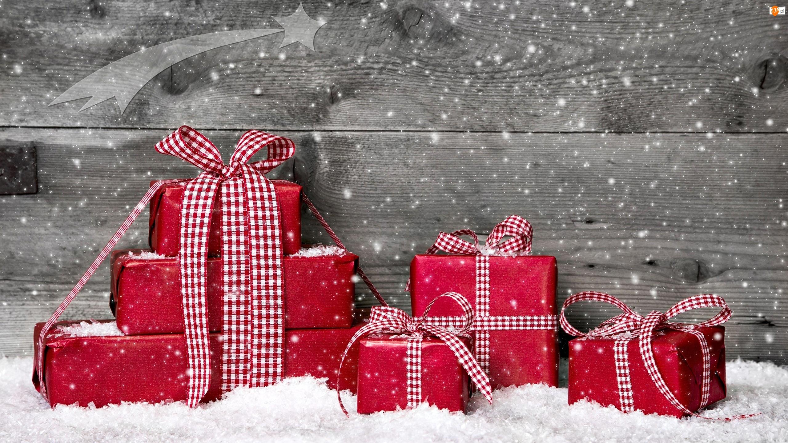 Czerwone, Śnieg, Prezenty, Świąteczne, Opakowanie