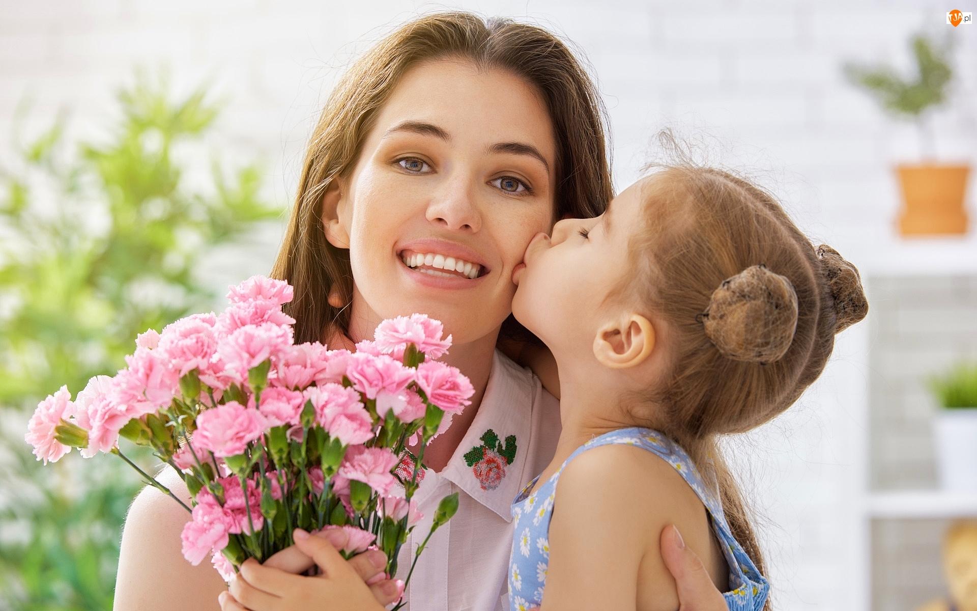 Buziak, Goździki, Dziecko, Kobieta, Kwiaty